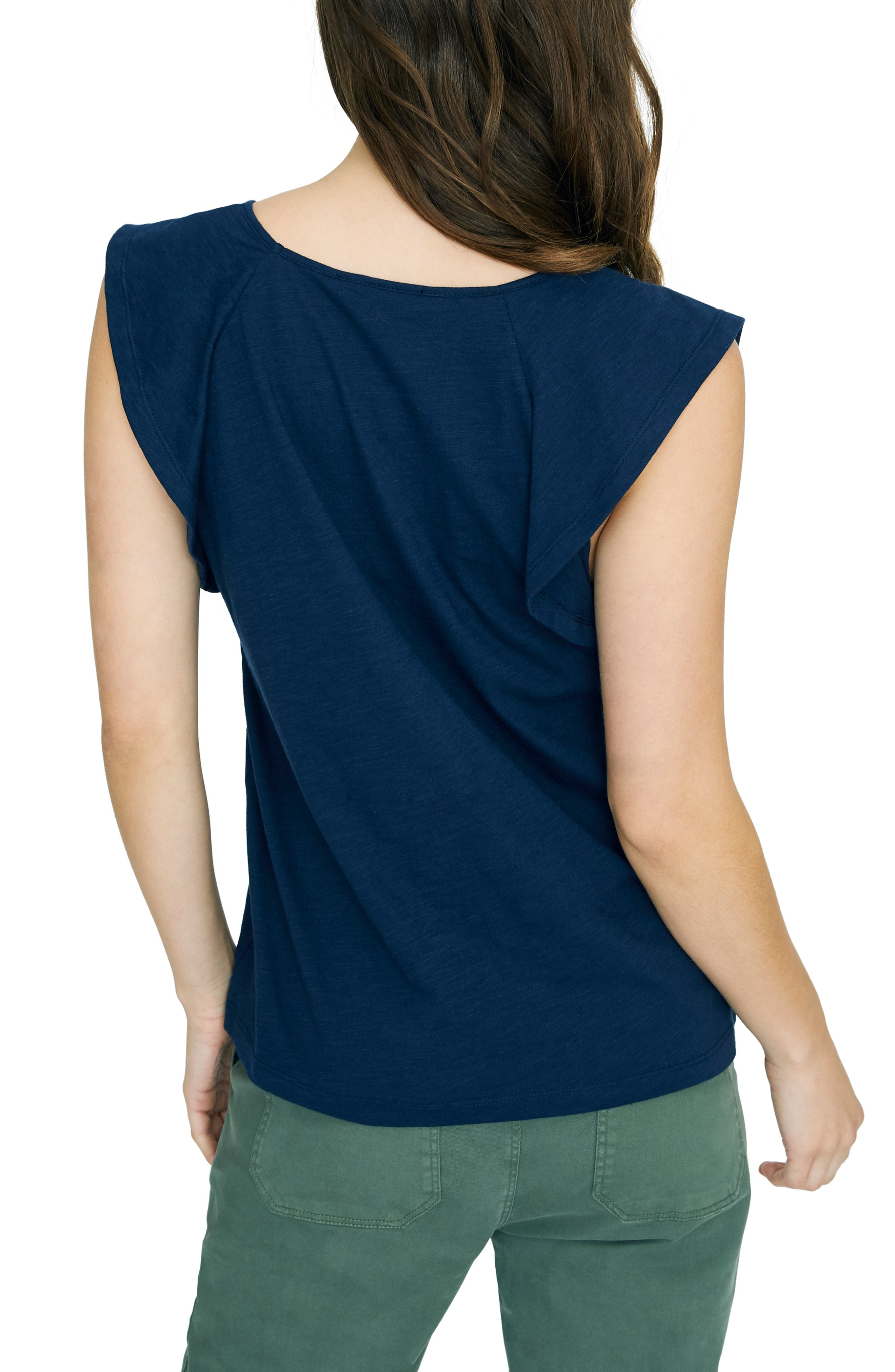 SANCTUARY, Lily Flutter Sleeve Tee, Alternate thumbnail 2, color, NAVY BLOOM