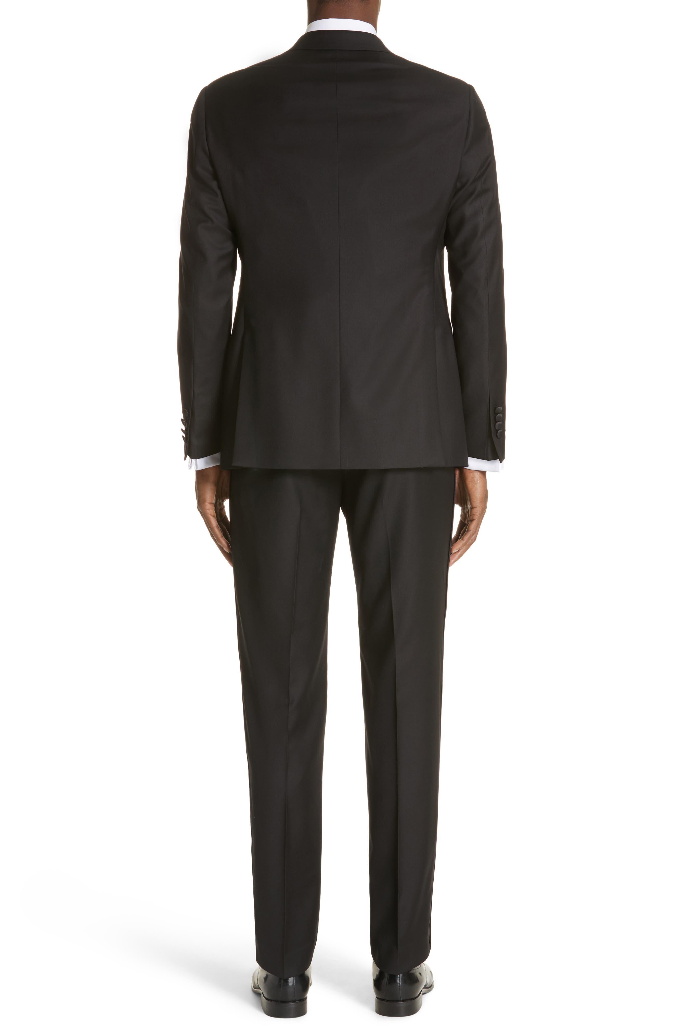 EMPORIO ARMANI, Trim Fit Wool Tuxedo, Alternate thumbnail 2, color, BLACK