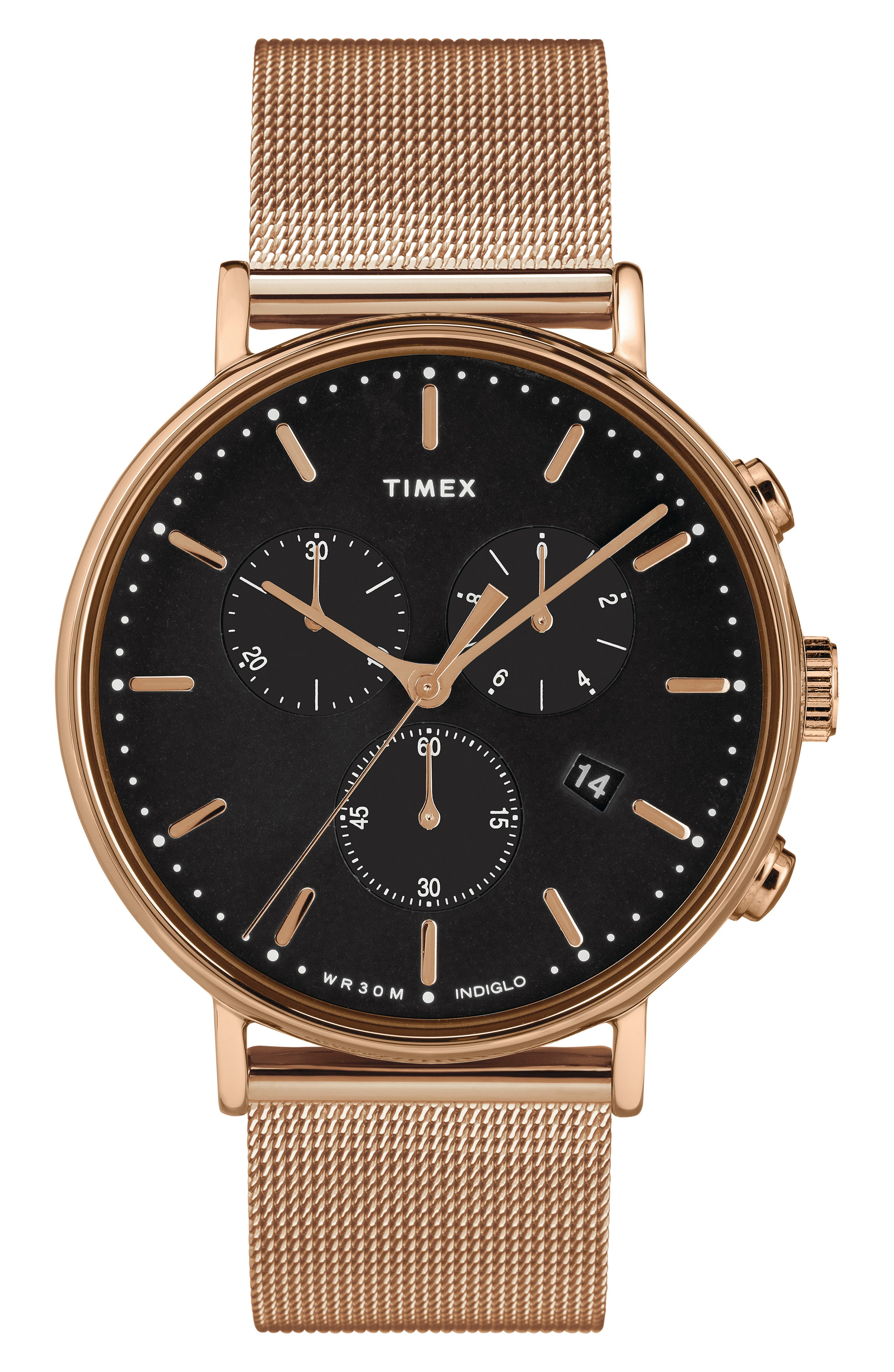 TIMEX<SUP>®</SUP> Fairfield Chronograph Mesh Strap Watch, 41mm, Main, color, ROSE GOLD/ BLACK/ ROSE GOLD