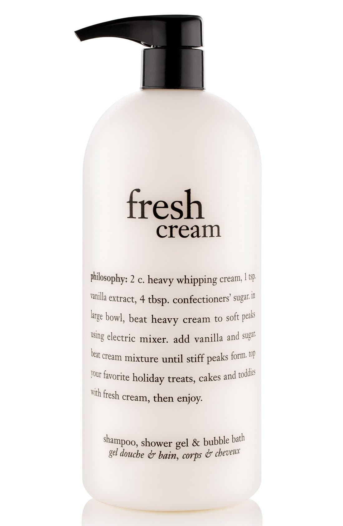 PHILOSOPHY, 'fresh cream' shampoo, shower gel & bubble bath, Main thumbnail 1, color, NO COLOR