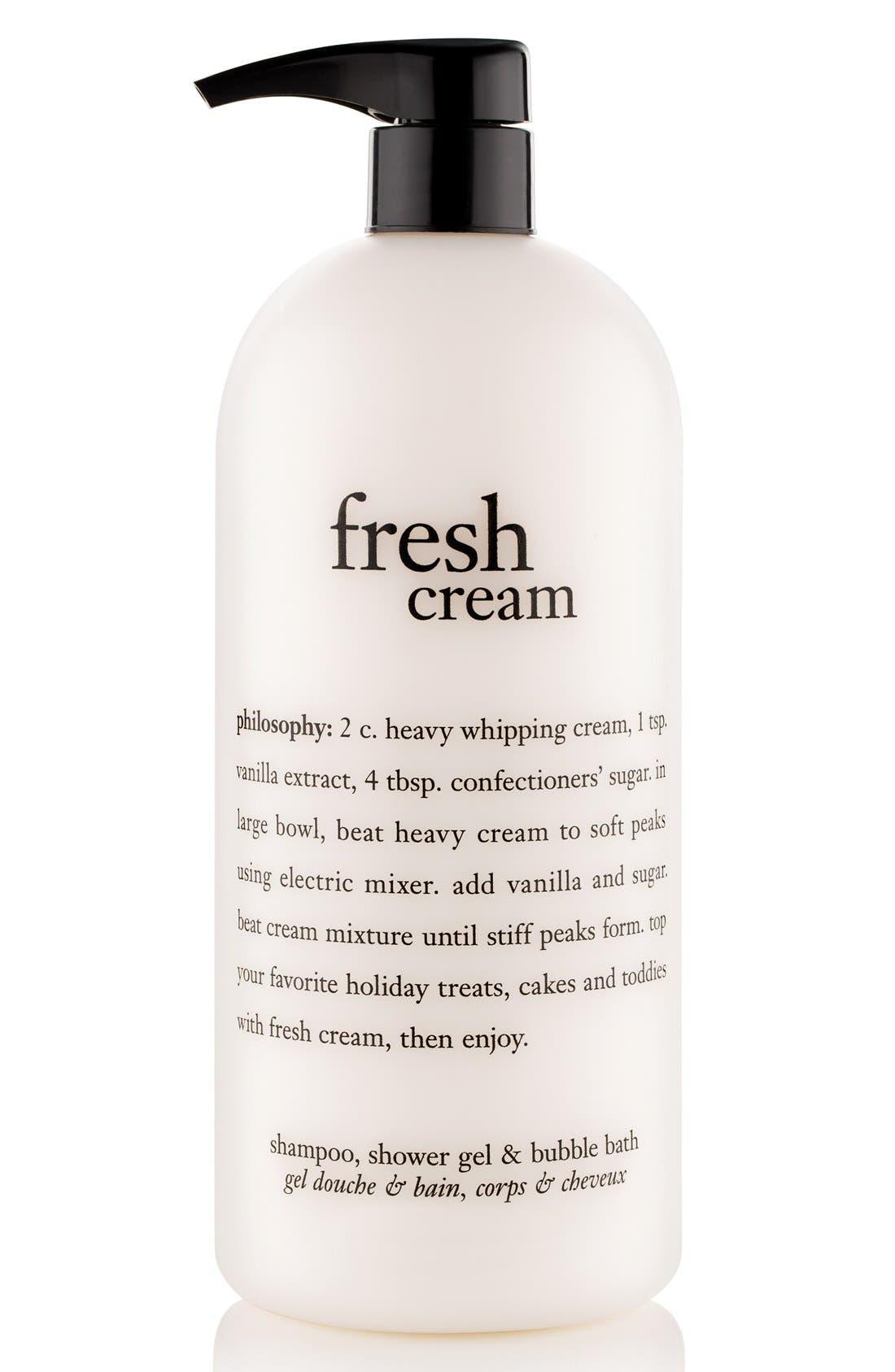 PHILOSOPHY 'fresh cream' shampoo, shower gel & bubble bath, Main, color, NO COLOR