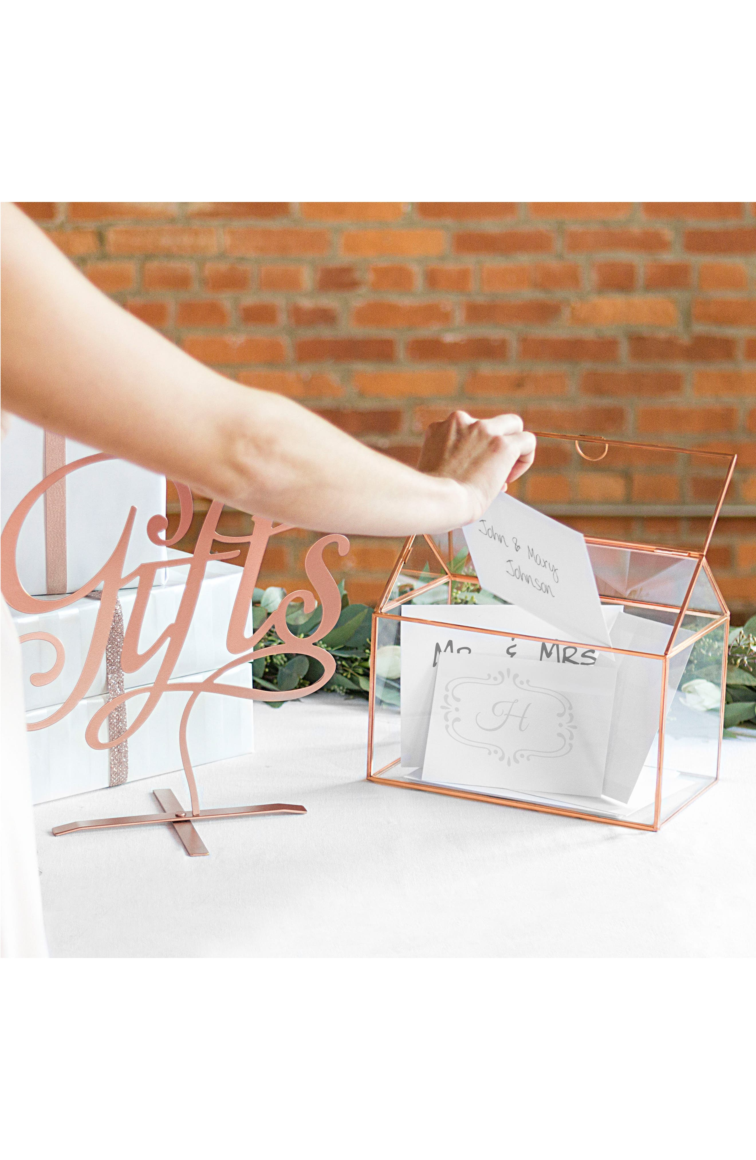 CATHY'S CONCEPTS, Monogram Rose Gold Reception Card Holder, Alternate thumbnail 7, color, ROSE GOLD