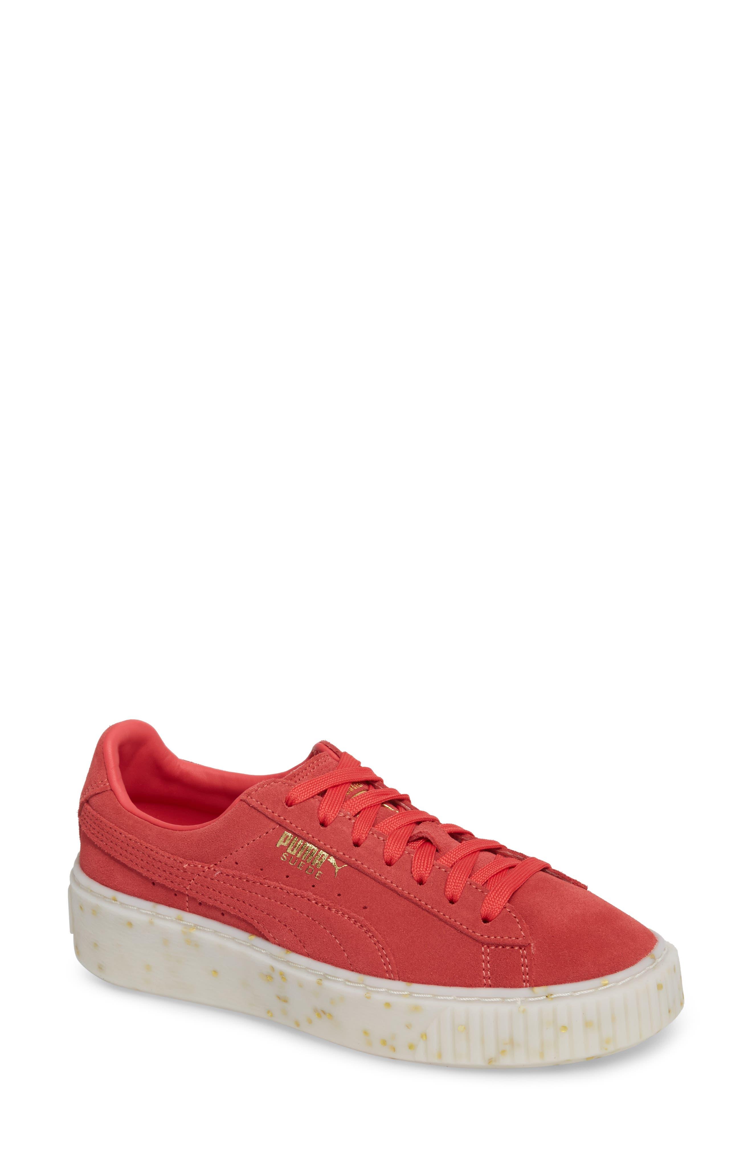 PUMA, Suede Platform Sneaker, Main thumbnail 1, color, PARADISE PINK/ TEAM GOLD
