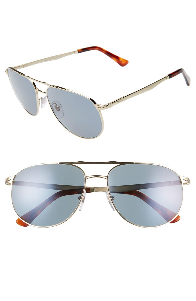Persol 60MM AVIATOR SUNGLASSES - GOLD/ GOLD/ BLUE
