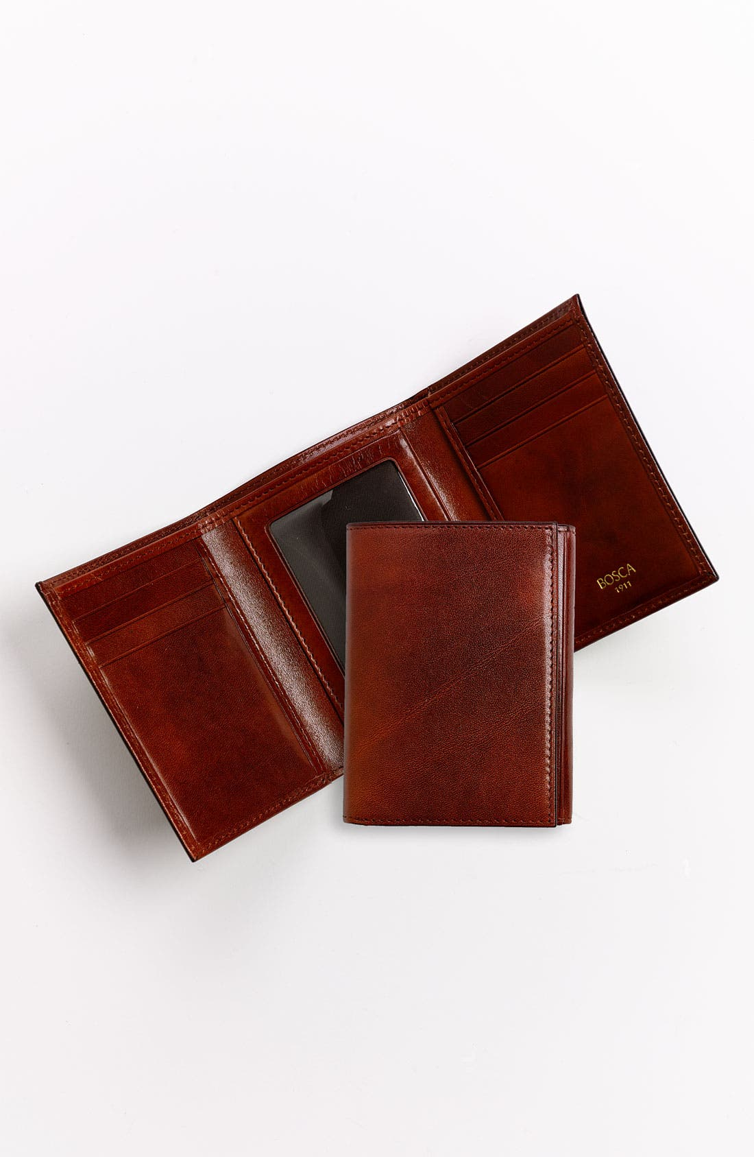 BOSCA, 'Old Leather' Trifold Wallet, Alternate thumbnail 4, color, COGNAC