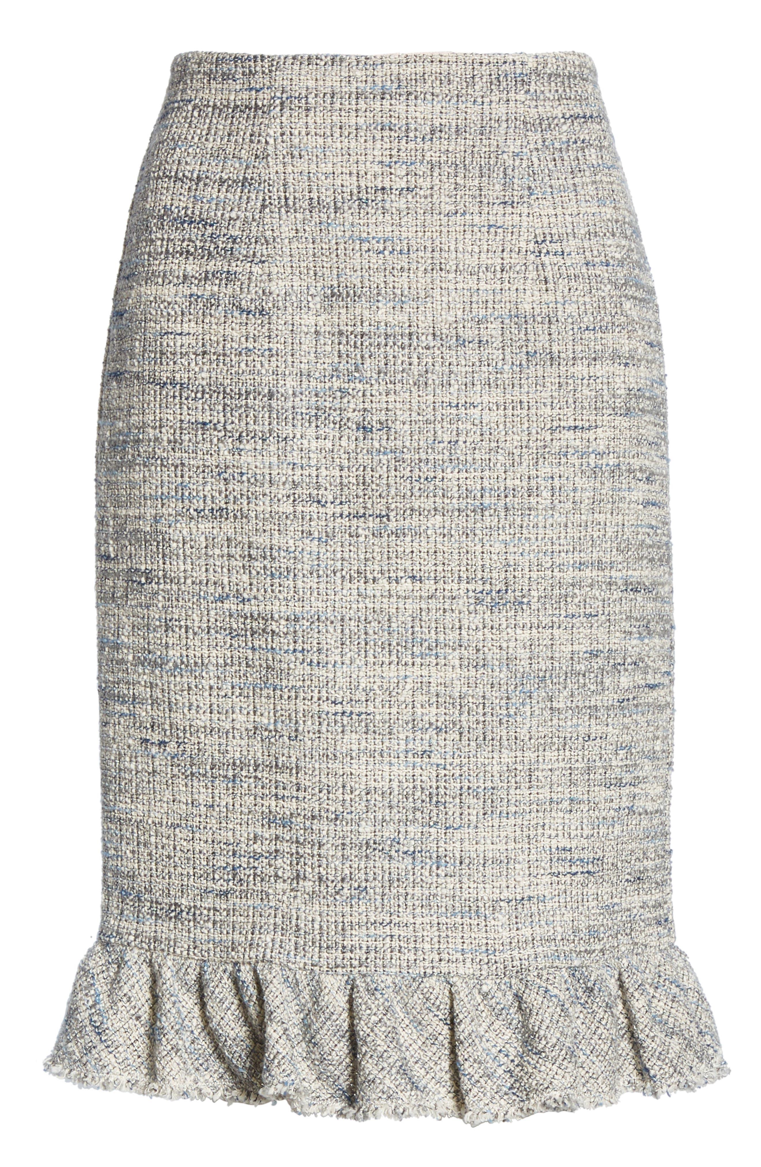 REBECCA TAYLOR, Tweed Ruffle Hem Skirt, Alternate thumbnail 6, color, 020