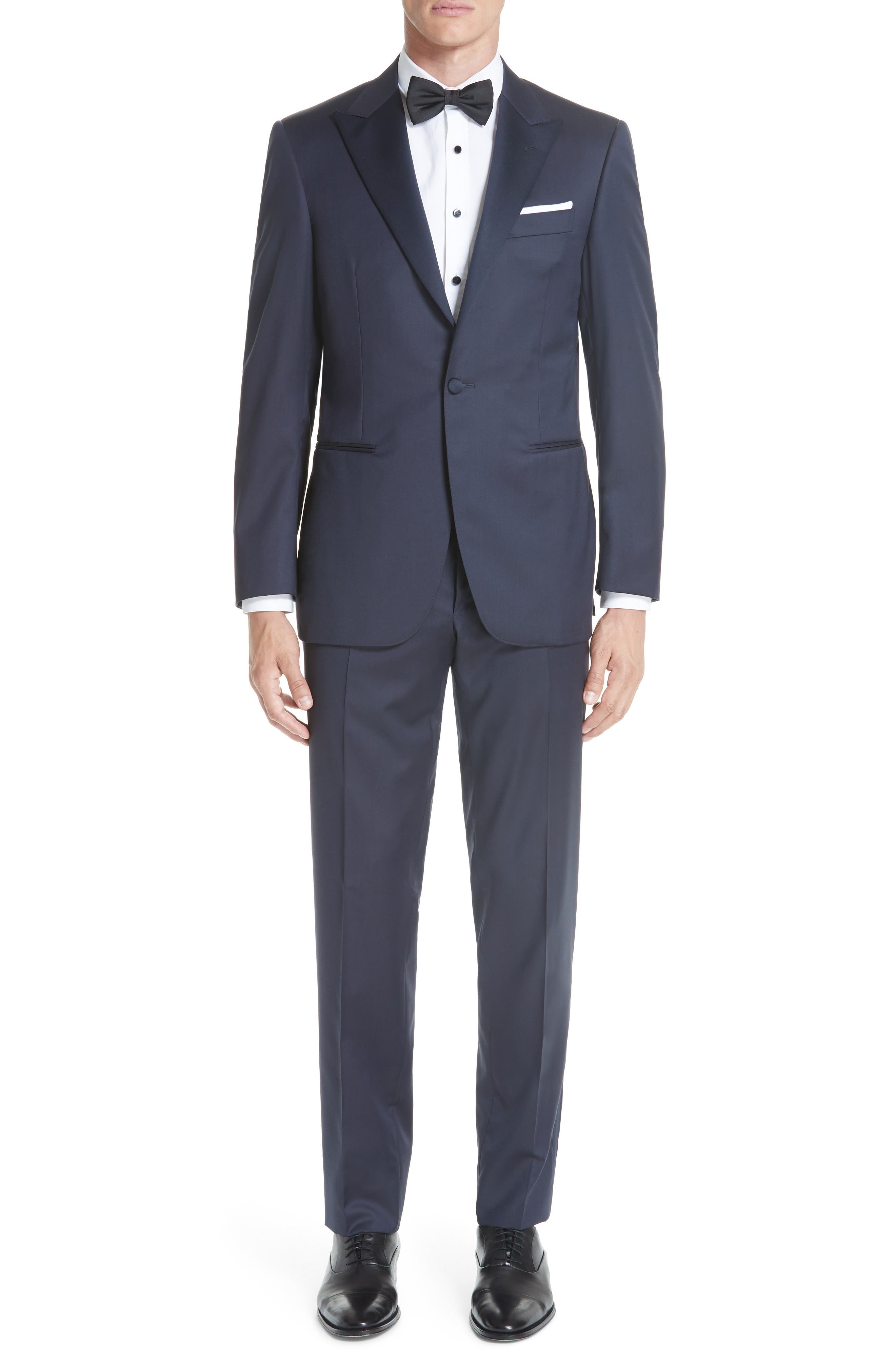 CANALI, Classic Fit Wool Tuxedo, Main thumbnail 1, color, NAVY