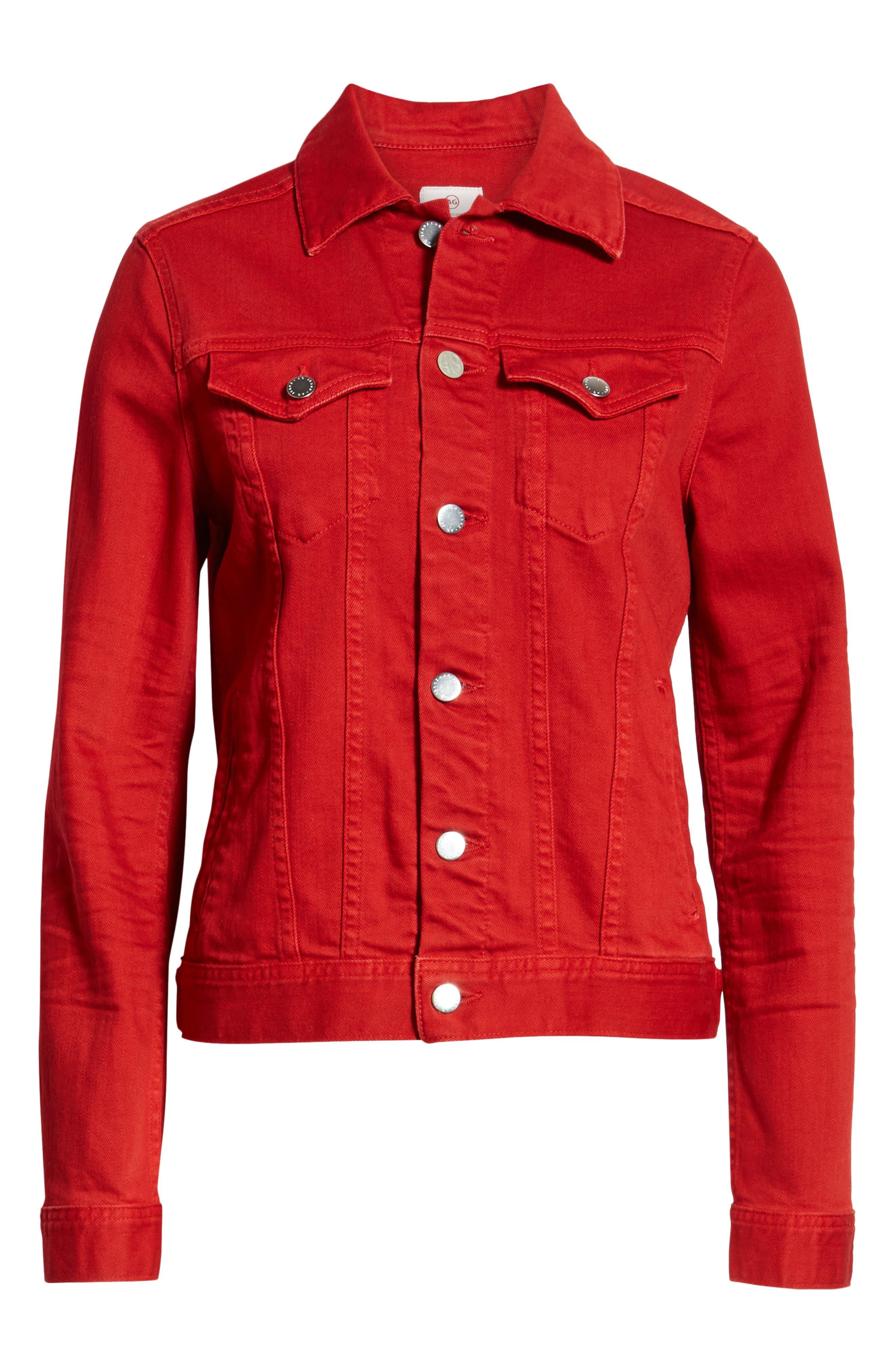AG, Mya Denim Jacket, Alternate thumbnail 6, color, 01Y HI WHITE CLEVER RED