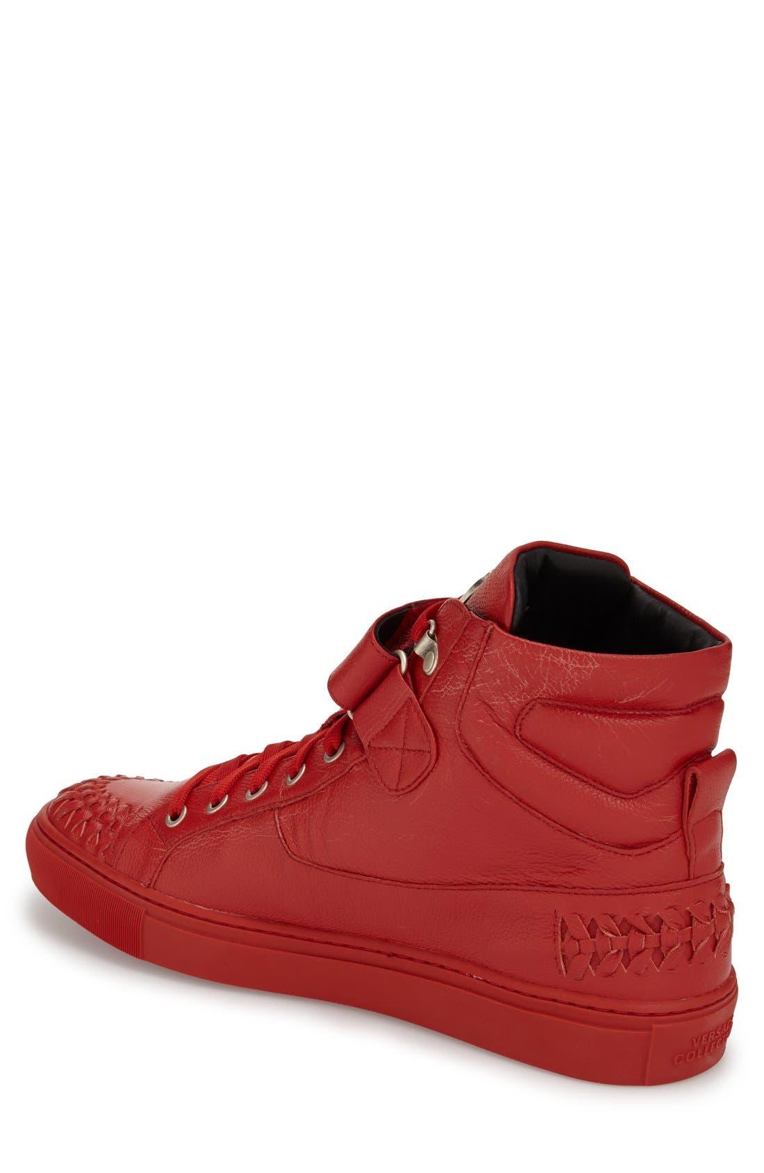 VERSACE COLLECTION, Woven High Top Sneaker, Alternate thumbnail 2, color, 600