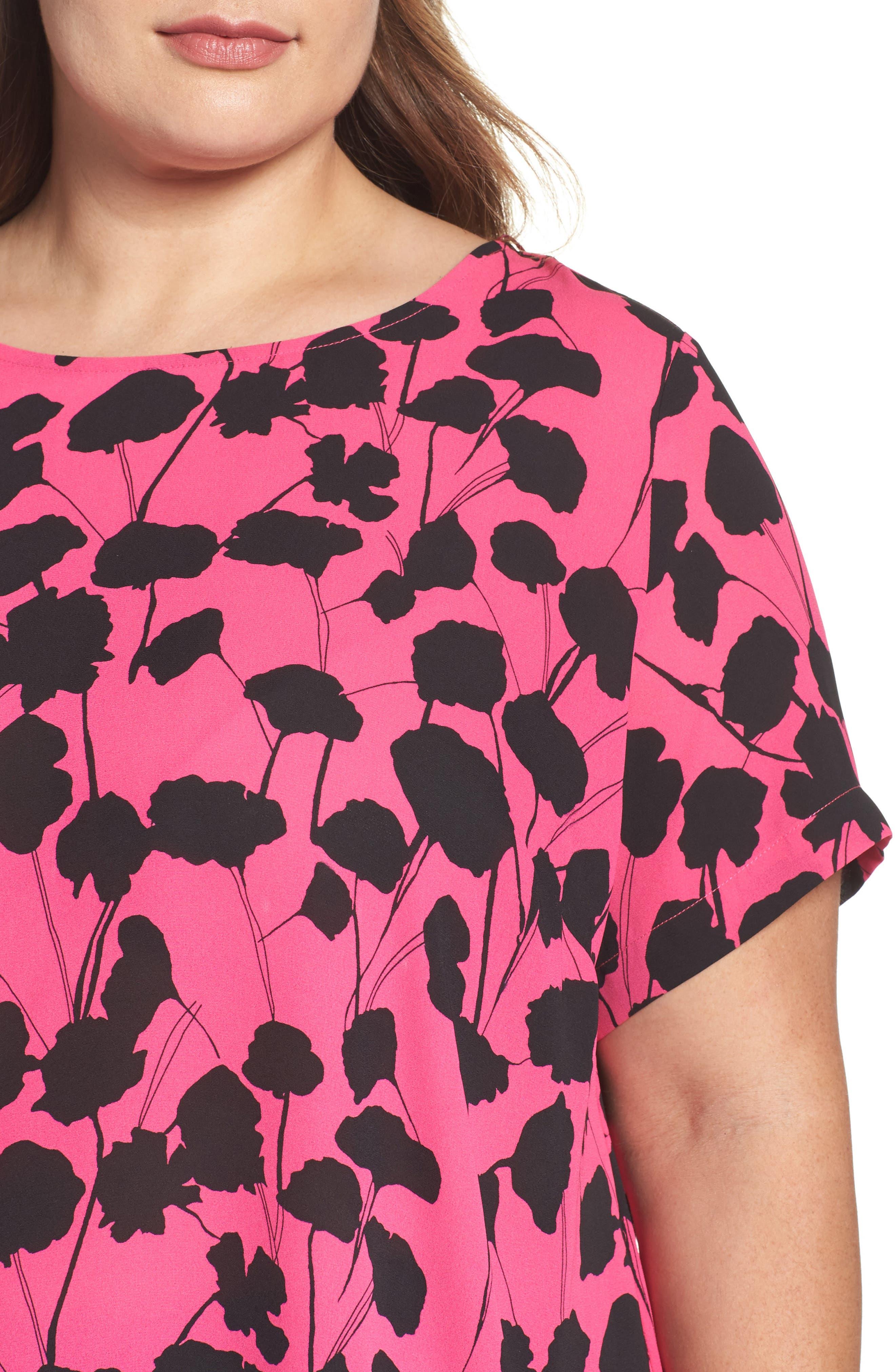 VINCE CAMUTO, Elegant Blossom Chiffon Tunic, Alternate thumbnail 4, color, 650