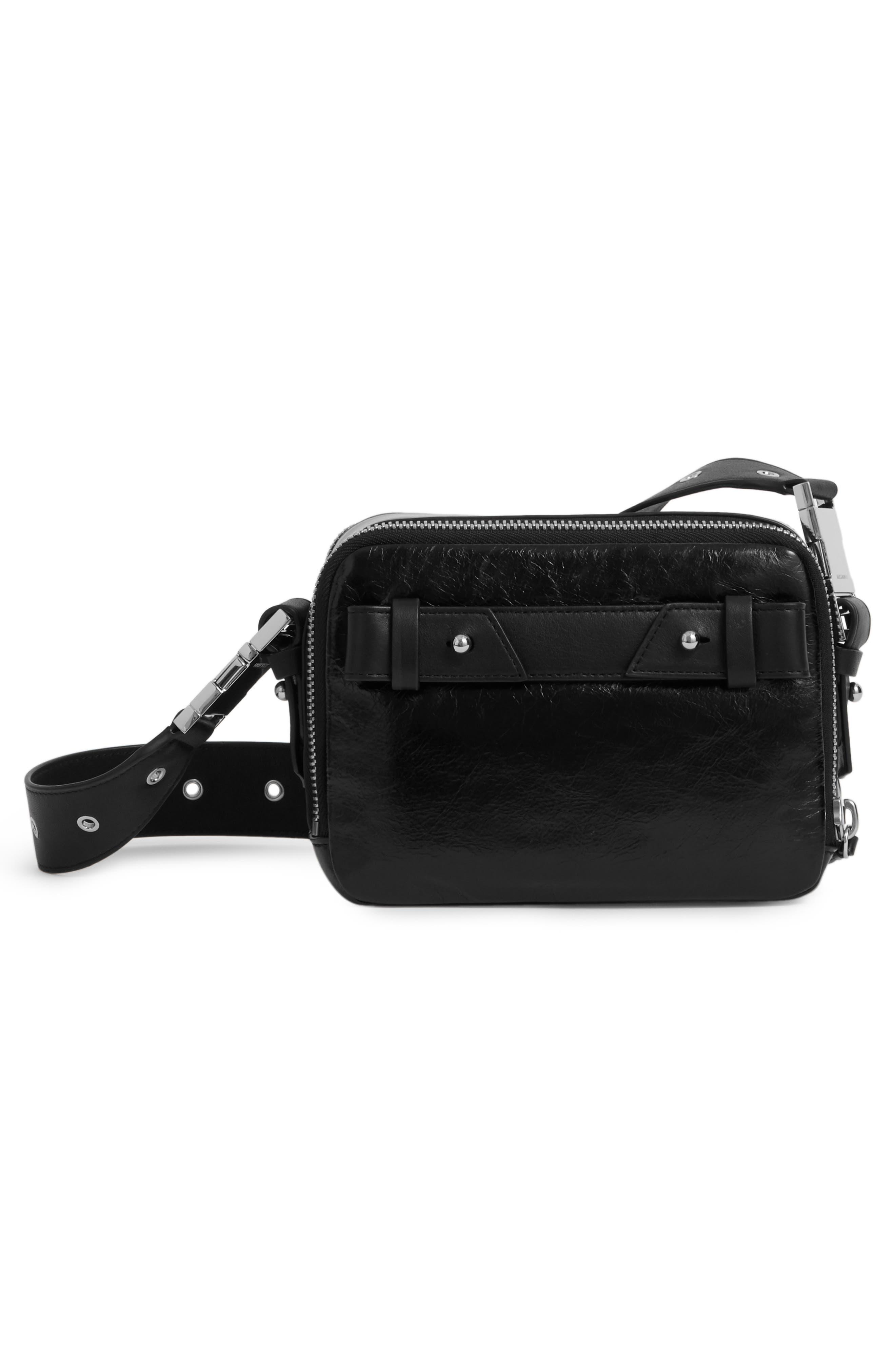 ALLSAINTS, Leather Belt Bag, Alternate thumbnail 3, color, 001