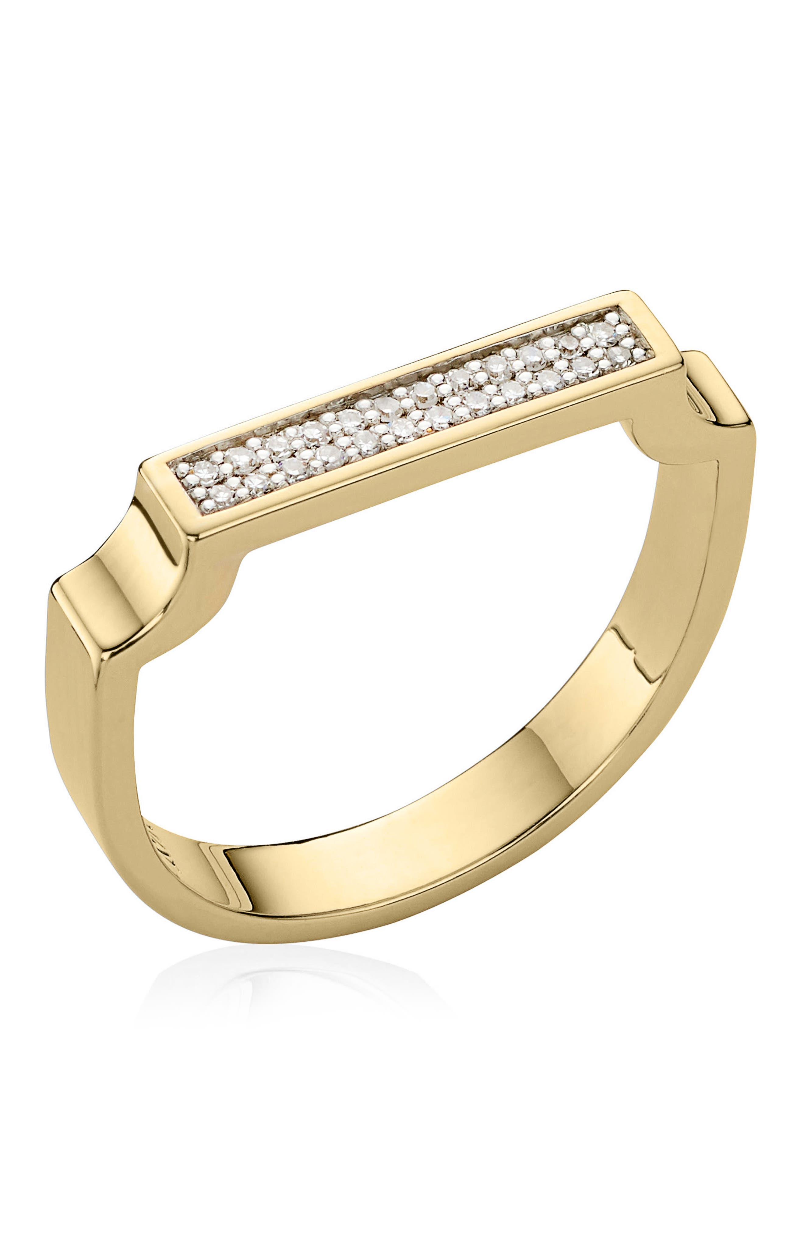 MONICA VINADER, Diamond Signature Ring, Alternate thumbnail 4, color, YELLOW GOLD