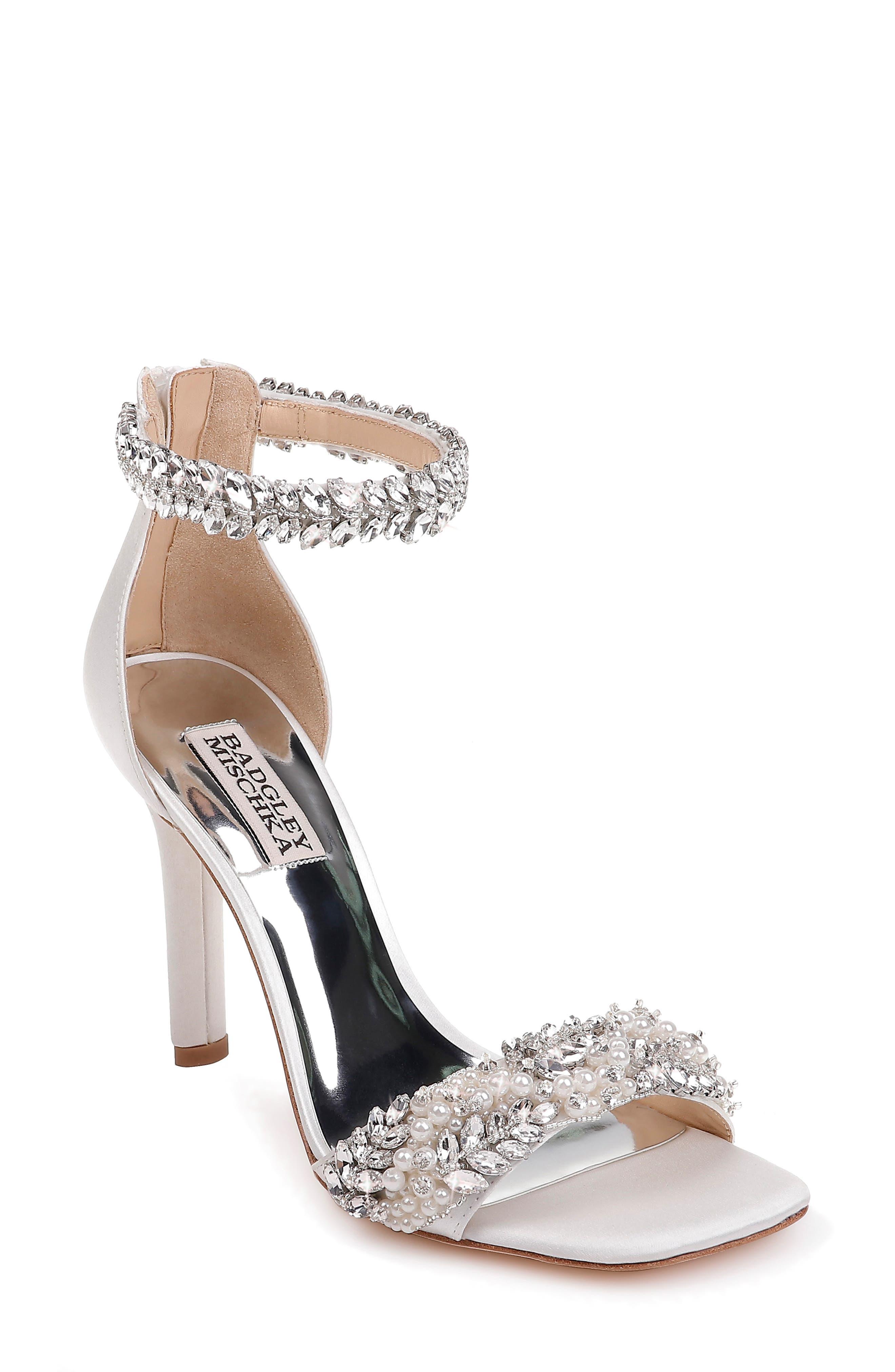 BADGLEY MISCHKA COLLECTION, Badgley Mischka Fiorenza Crystal & Imitation Pearl Embellished Sandal, Main thumbnail 1, color, SOFT WHITE SATIN