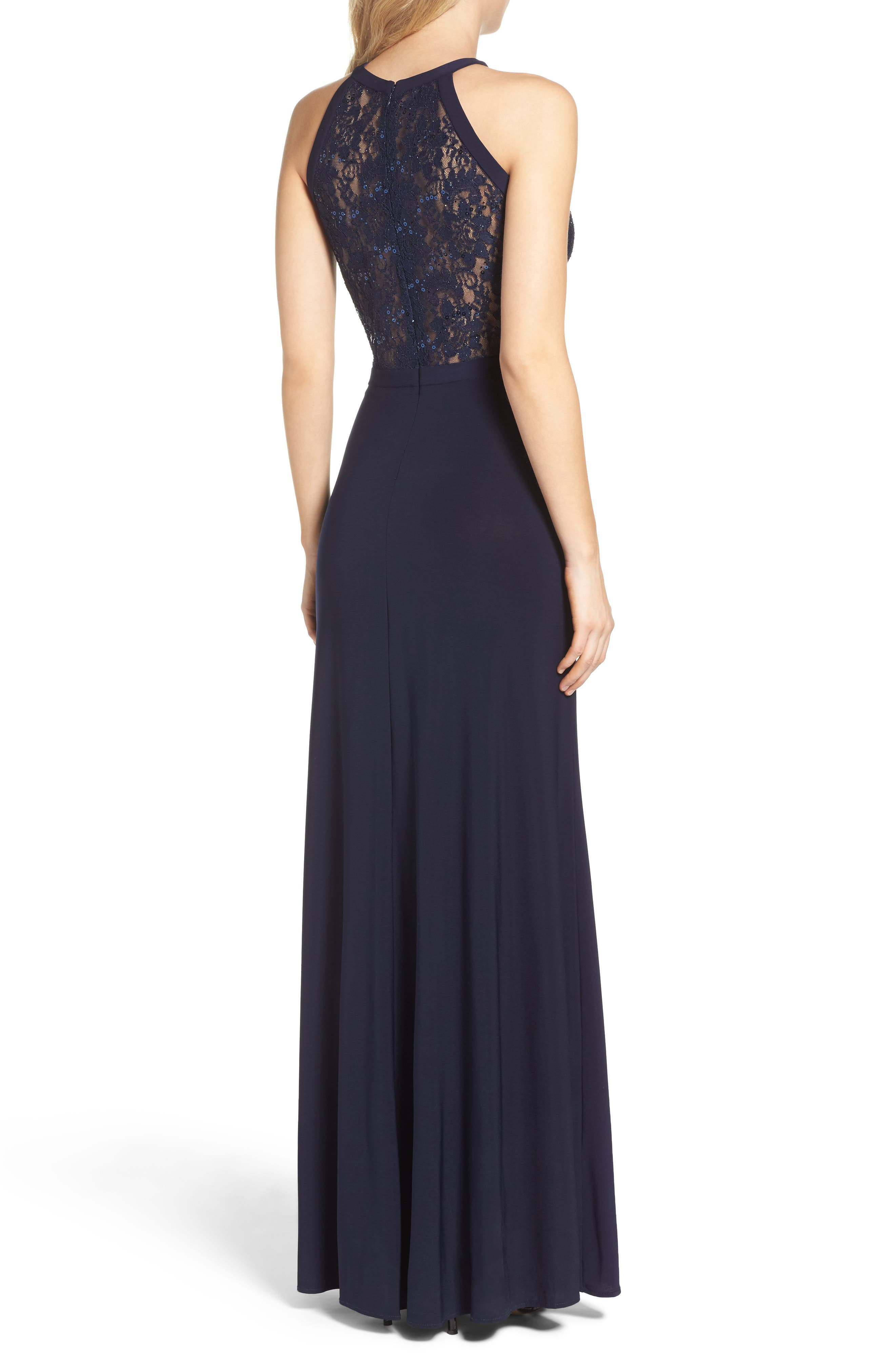 MORGAN & CO., Lace & Jersey Gown, Alternate thumbnail 2, color, NAVY