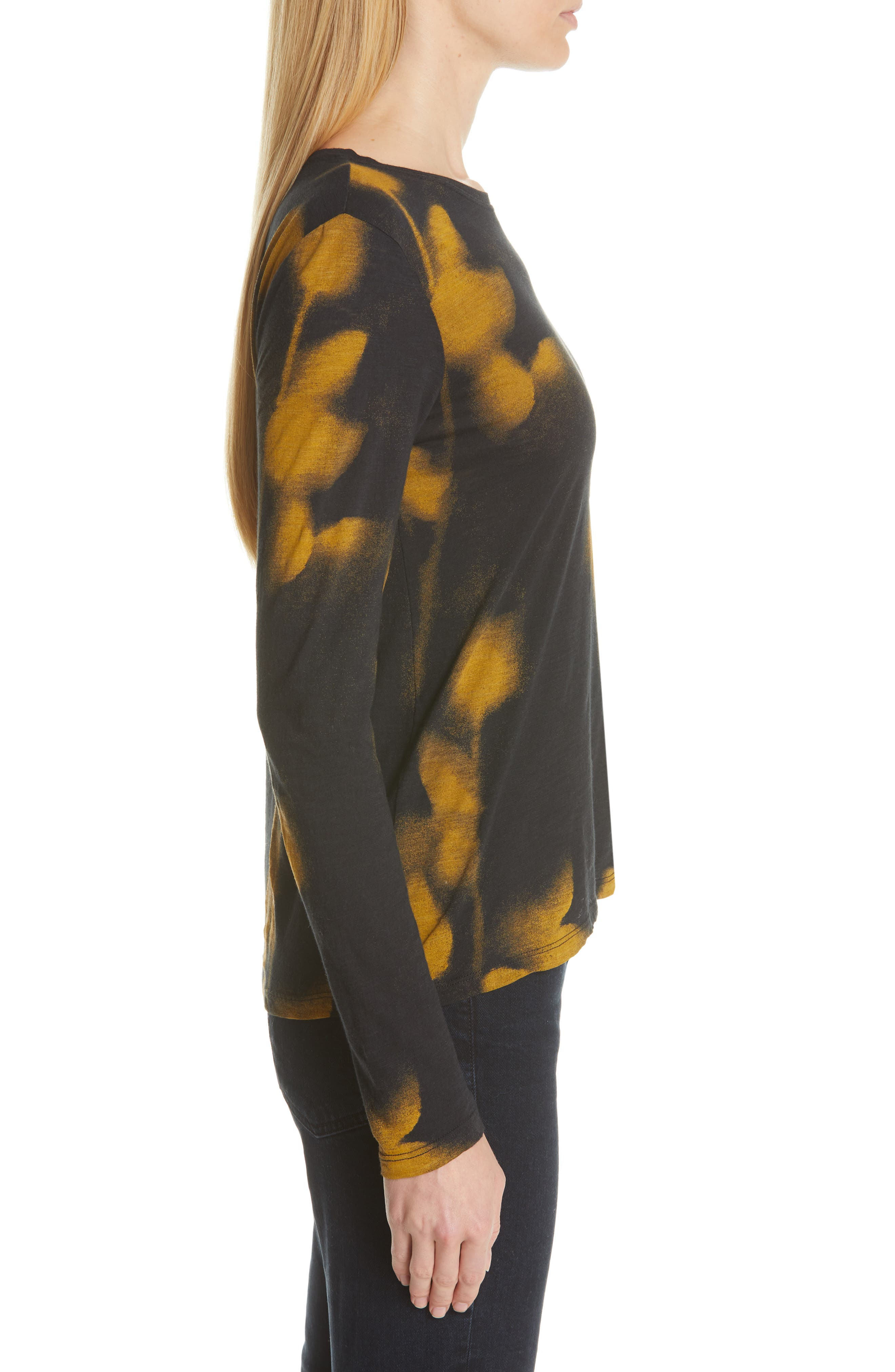 PROENZA SCHOULER, Print Jersey Tee, Alternate thumbnail 3, color, YELLOW/ BLACK ROSE PRINT