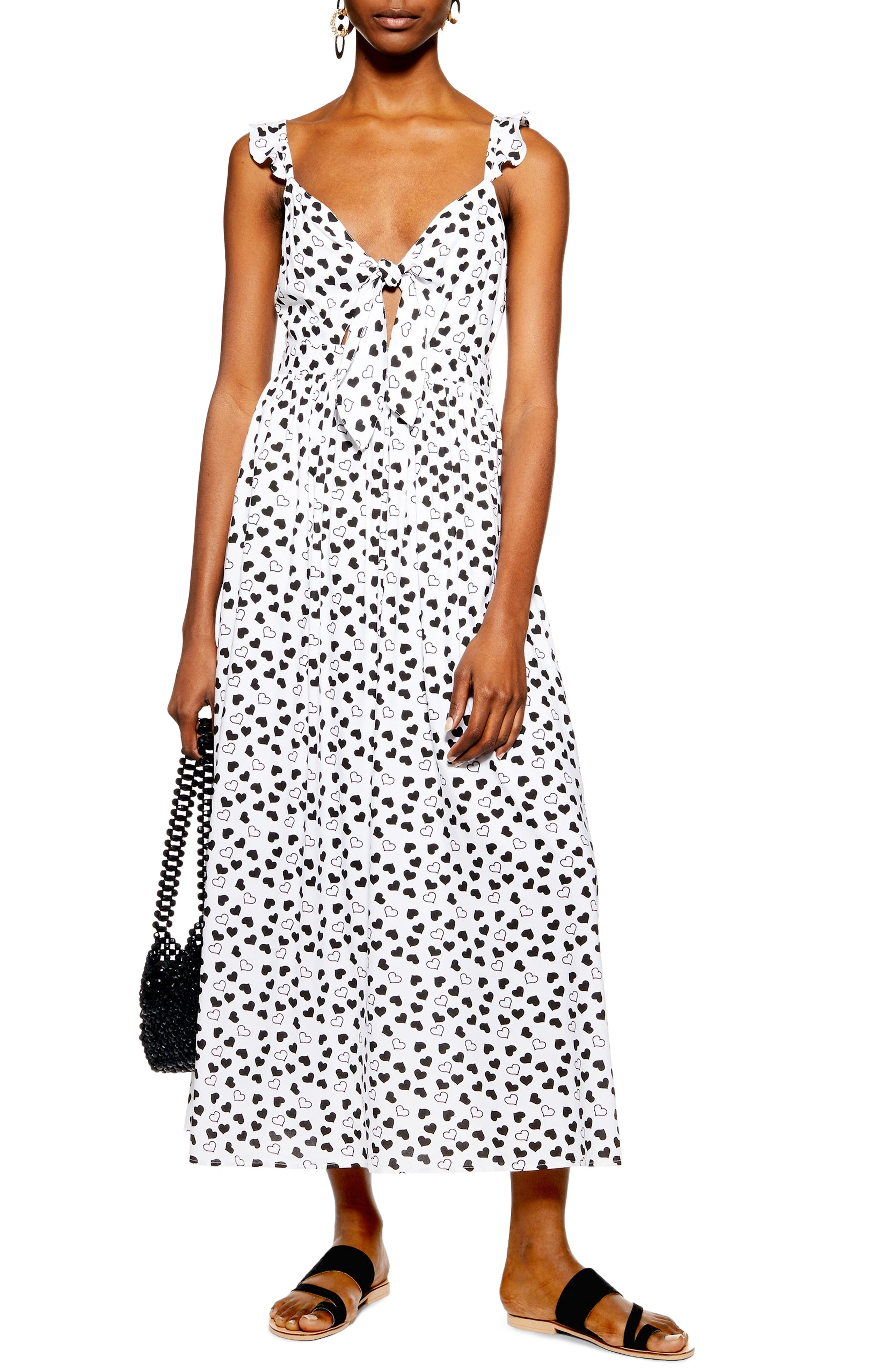TOPSHOP, Heart Knot Maxi Dress, Main thumbnail 1, color, IVORY MULTI
