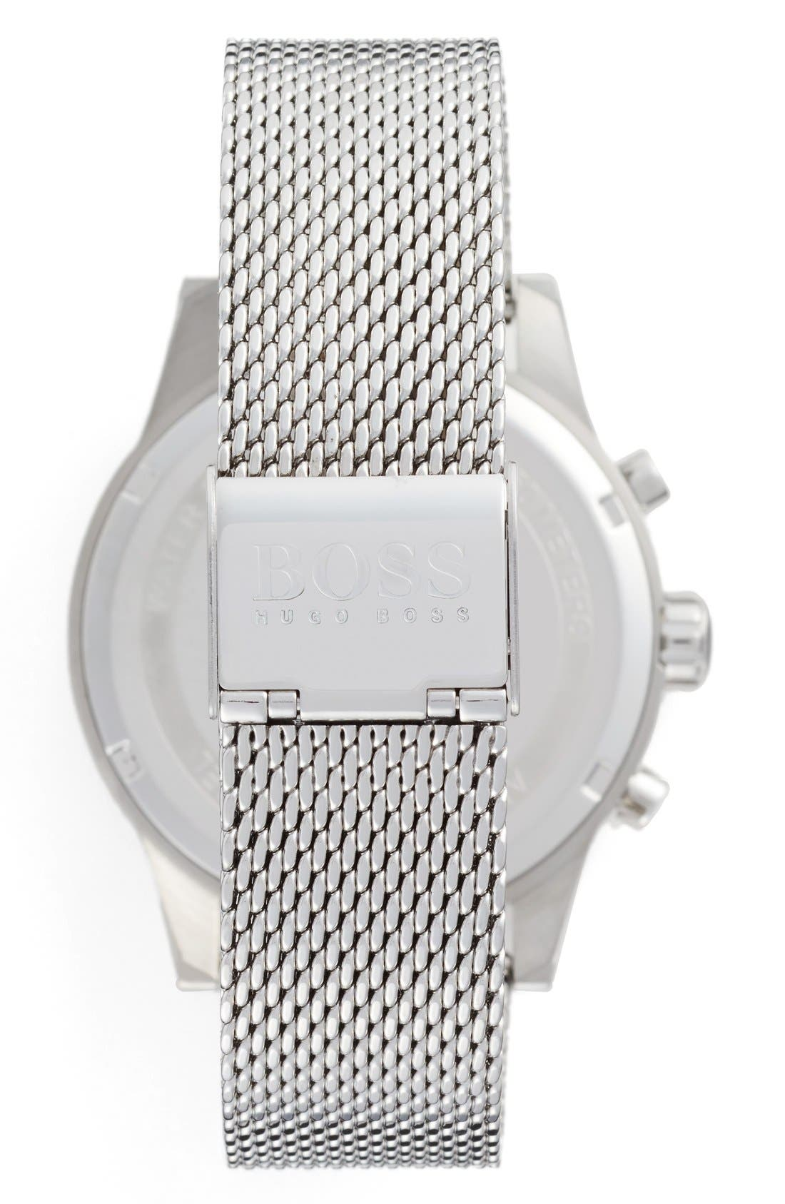 BOSS, Jet Chronograph Mesh Strap Watch, 41mm, Alternate thumbnail 2, color, SLATE/ SILVER