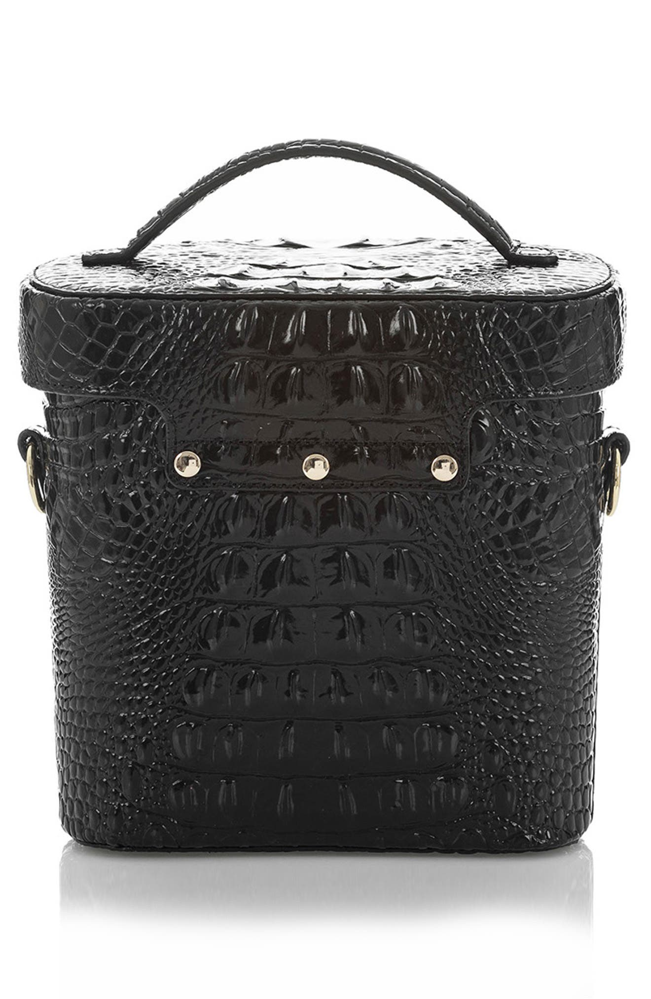 BRAHMIN, Pipp Croc Embossed Leather Top Handle Bag, Alternate thumbnail 2, color, BLACK MEMBOURNE