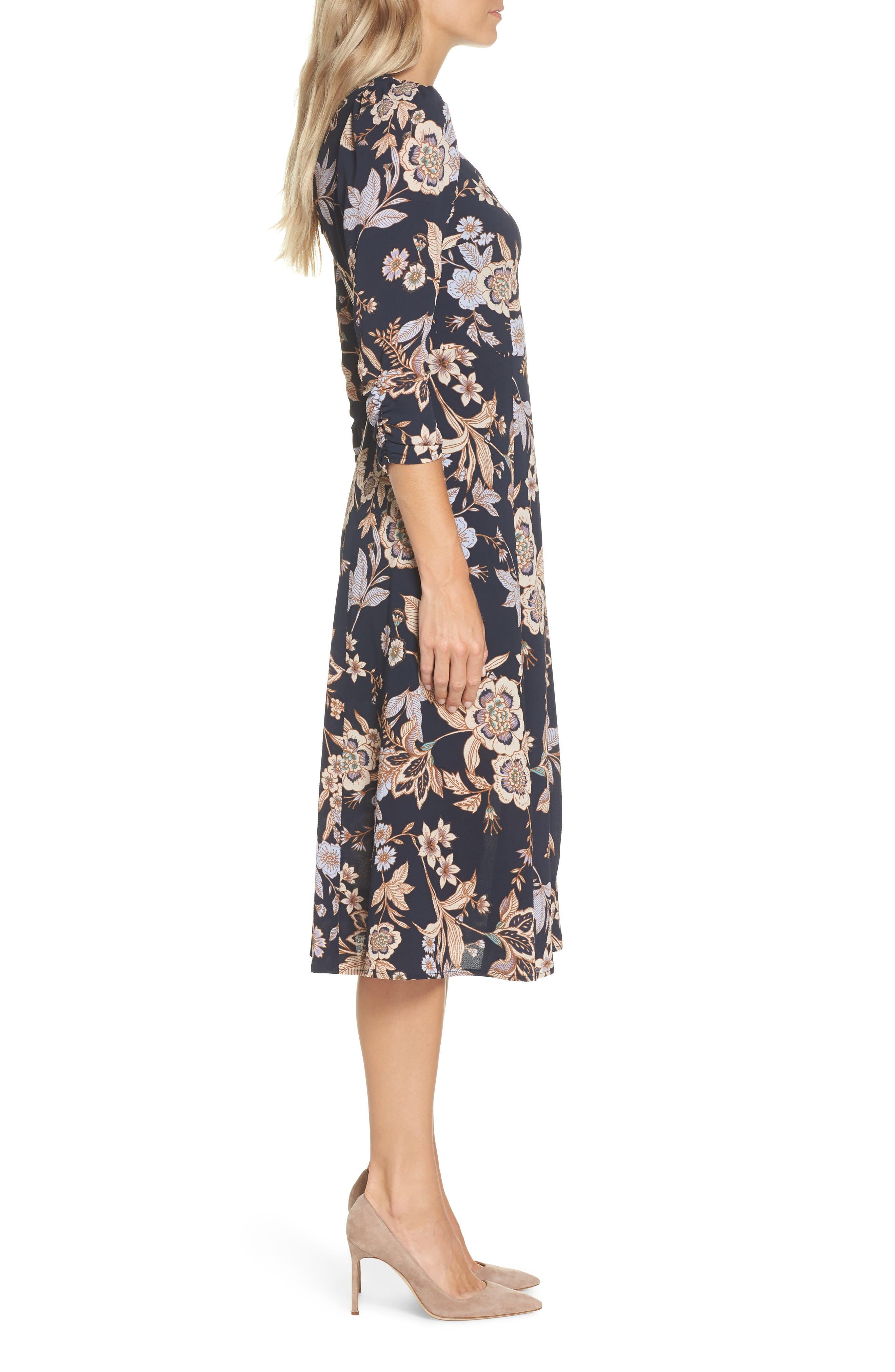 ELIZA J, Floral Midi Dress, Alternate thumbnail 4, color, 410
