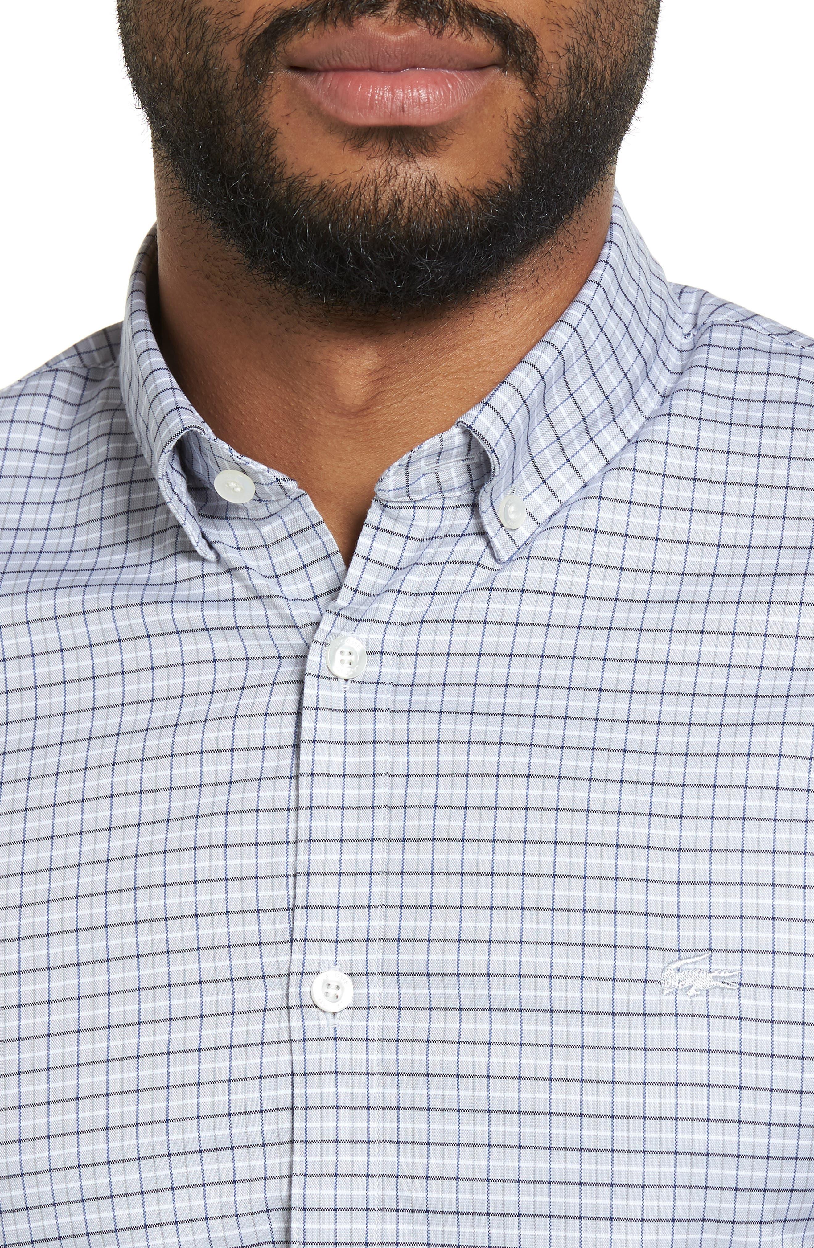 LACOSTE, Slim Fit Plaid Shirt, Alternate thumbnail 4, color, 061