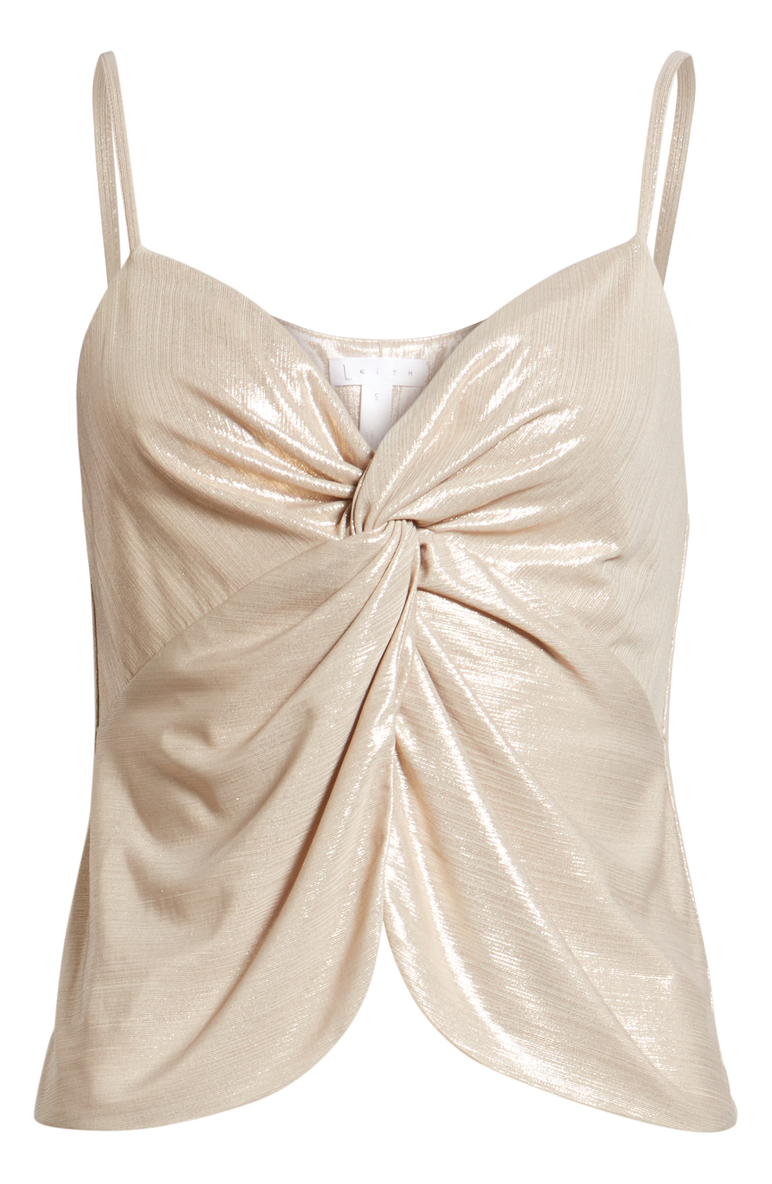 LEITH, Knot Front Metallic Camisole, Alternate thumbnail 6, color, 710