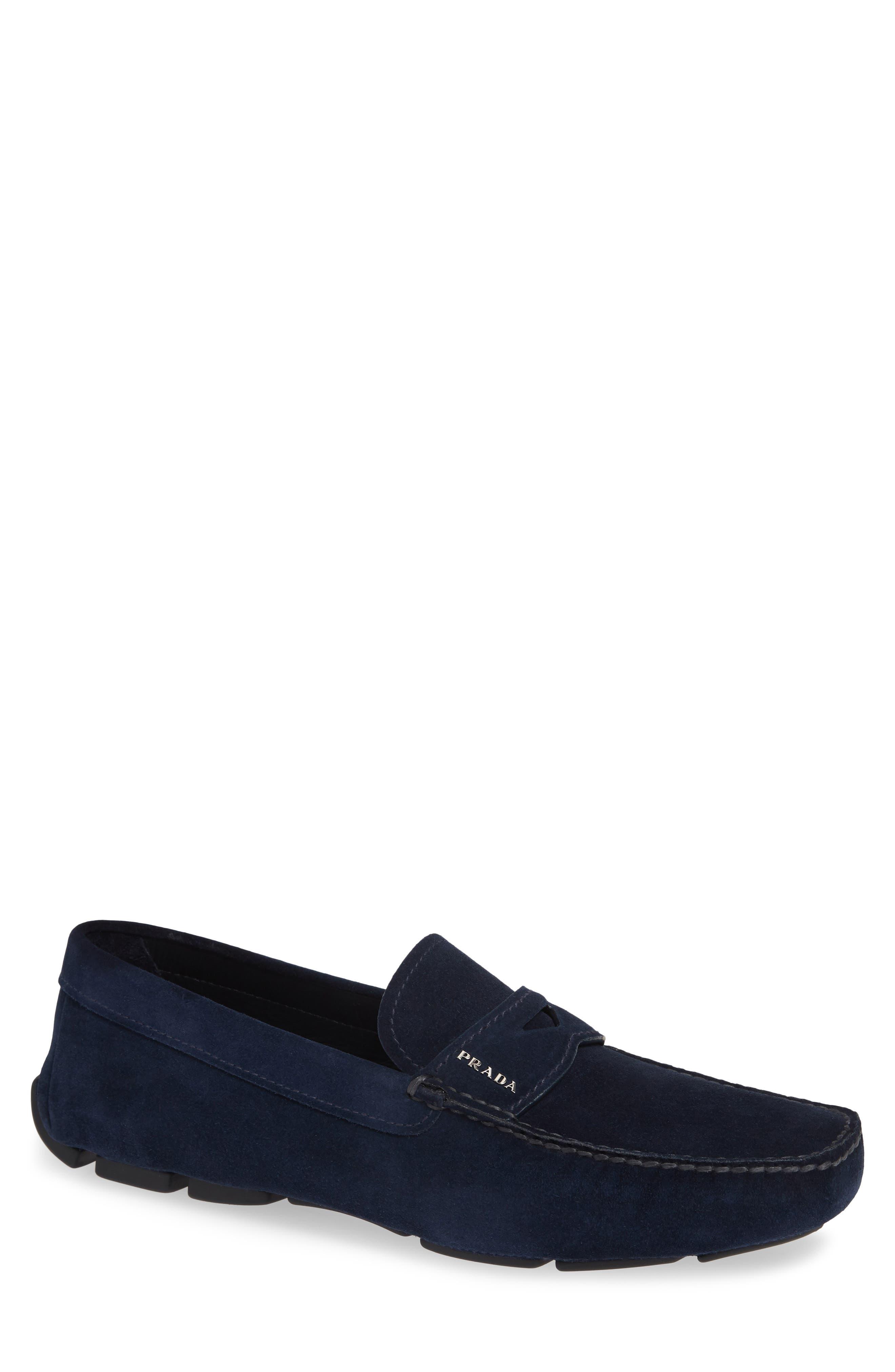PRADA Driving Shoe, Main, color, OLTREMARE BLUE