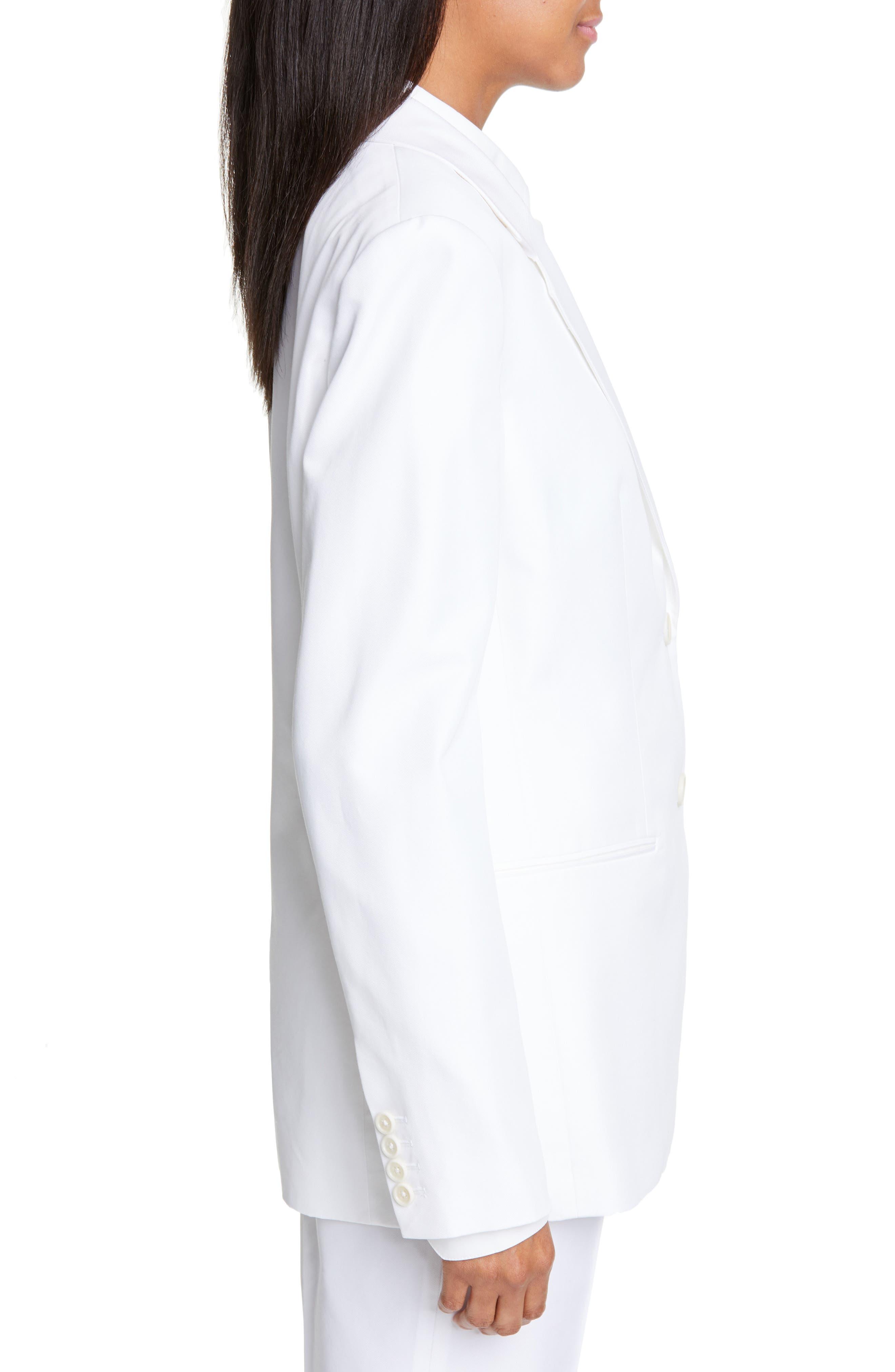 HELMUT LANG, Cotton Blend Blazer, Alternate thumbnail 4, color, WHITE