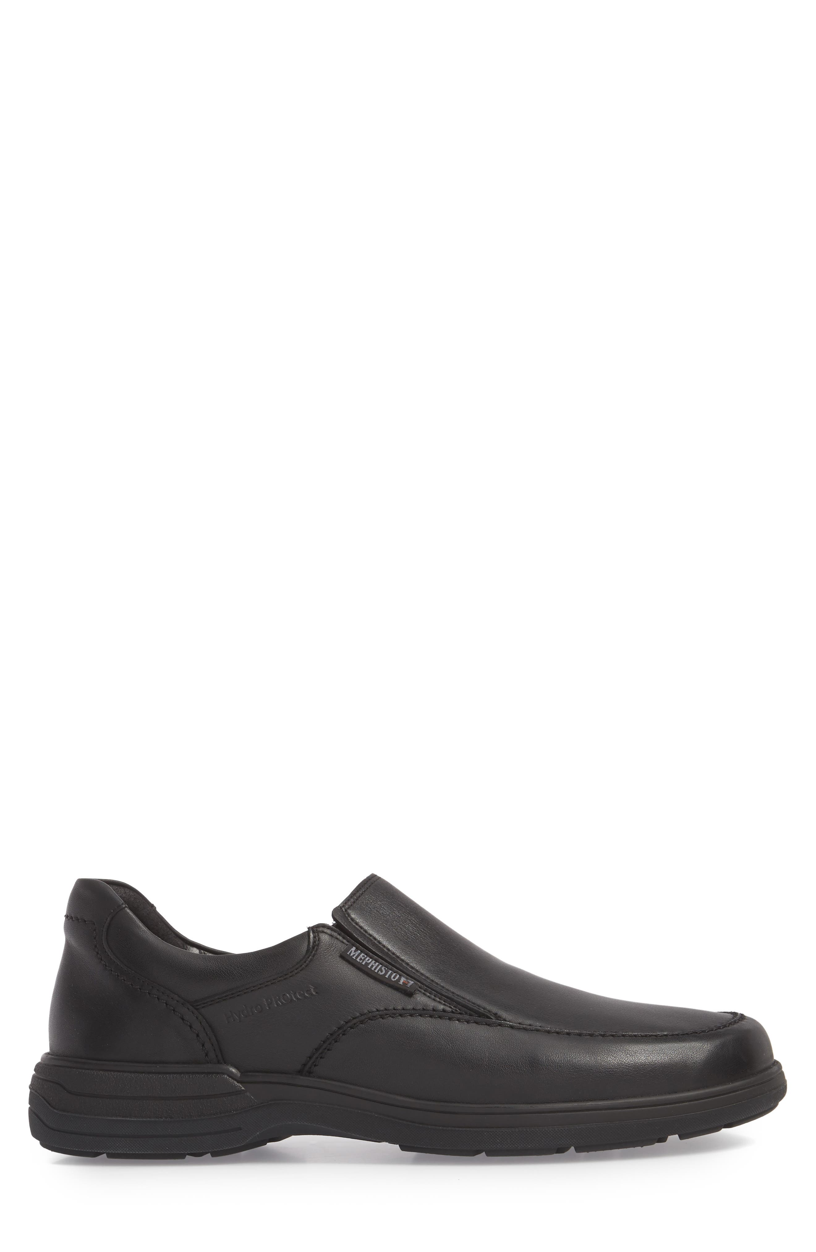 MEPHISTO, Davy Slip-On Men), Alternate thumbnail 3, color, BLACK LEATHER