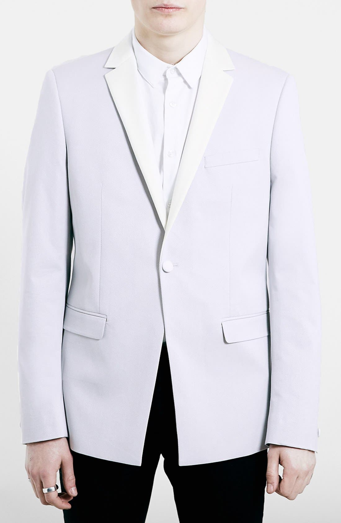 TOPMAN, Slim Fit Off White Tuxedo Jacket, Main thumbnail 1, color, 900