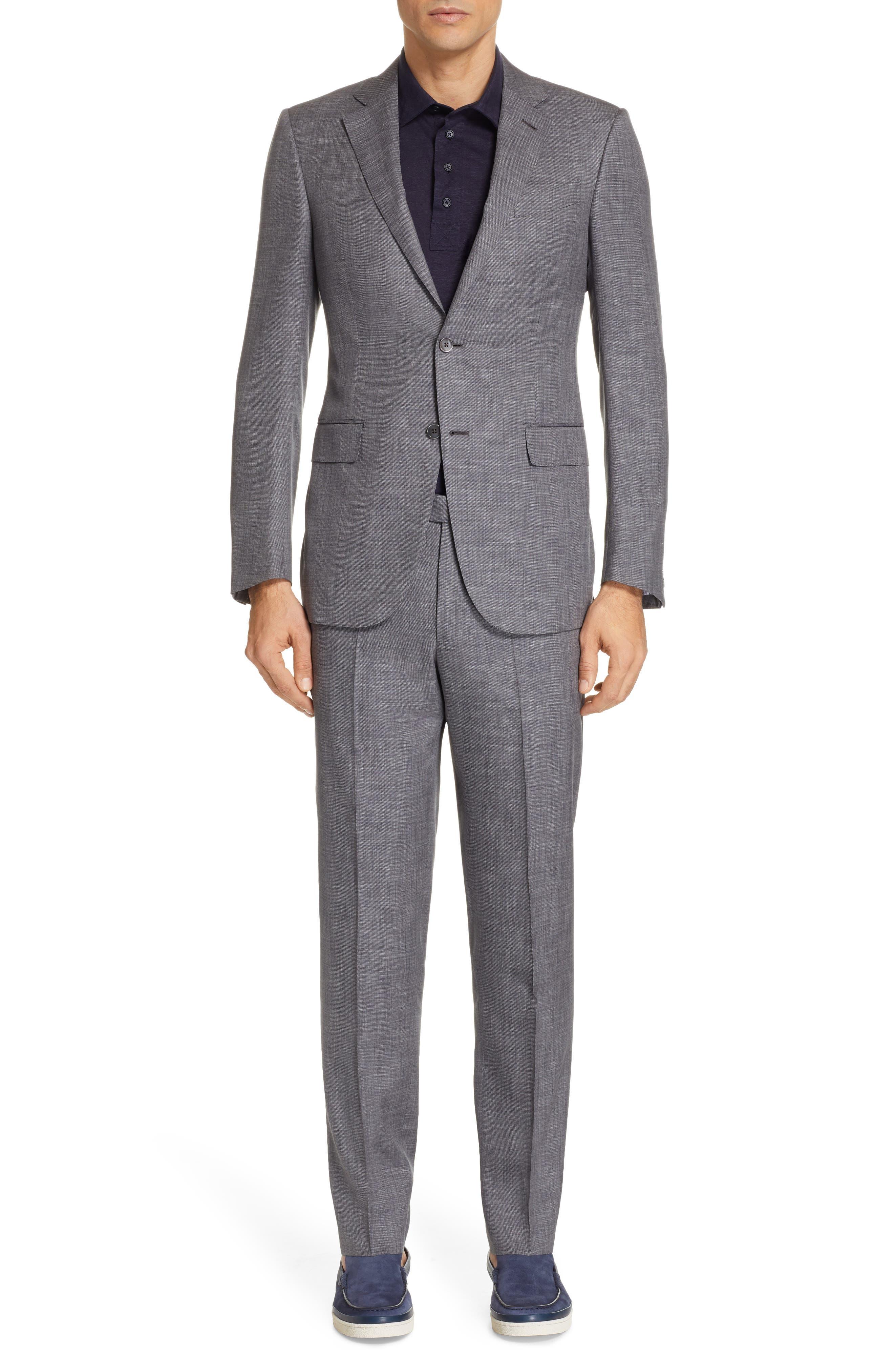 ERMENEGILDO ZEGNA, Milano Trim Fit Solid Wool & Silk Suit, Main thumbnail 1, color, GREY