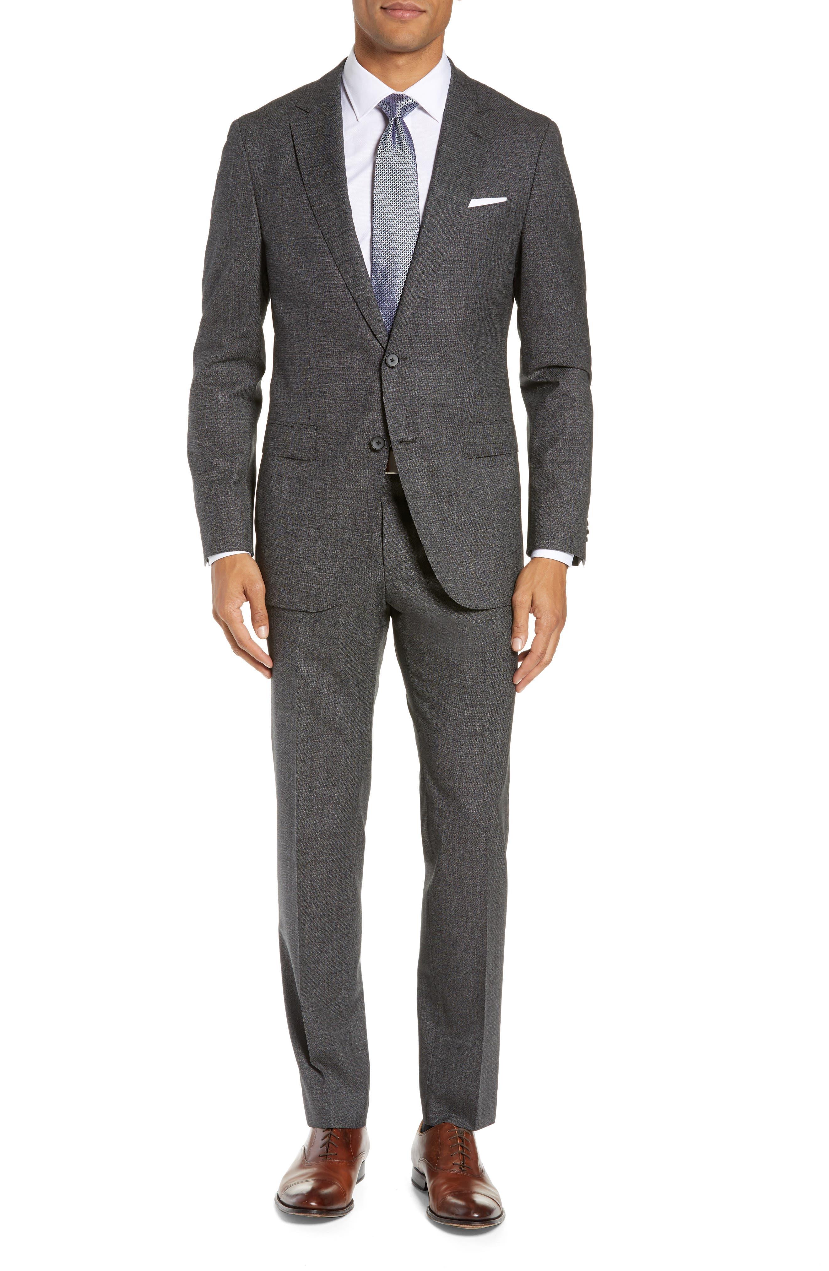 BOSS, Novan/Ben Slim Fit Solid Wool Suit, Main thumbnail 1, color, 063