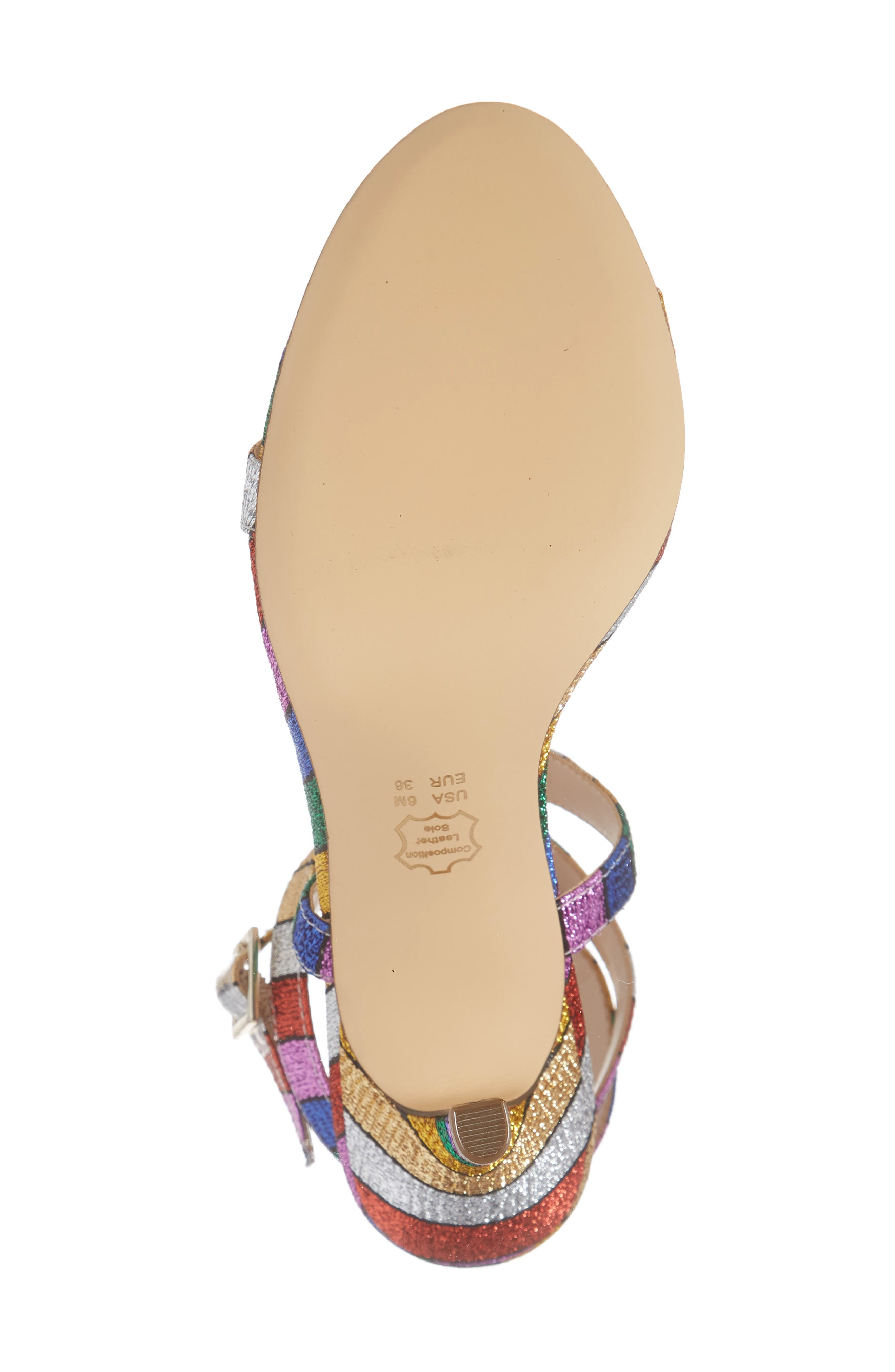 NINA, Vanna Ankle Strap Sandal, Alternate thumbnail 6, color, RAINBOW MULTI FABRIC