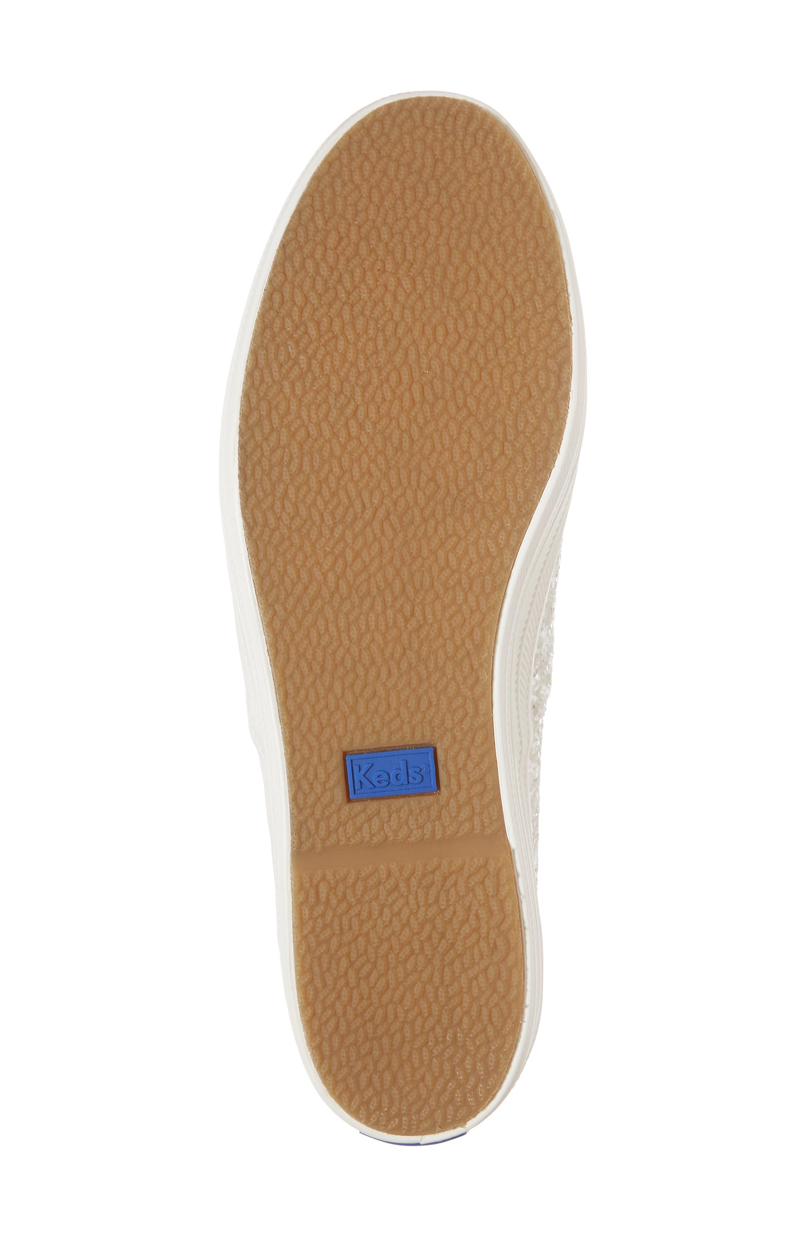 KEDS<SUP>®</SUP> FOR KATE SPADE NEW YORK, triple decker glitter sneaker, Alternate thumbnail 6, color, CREAM
