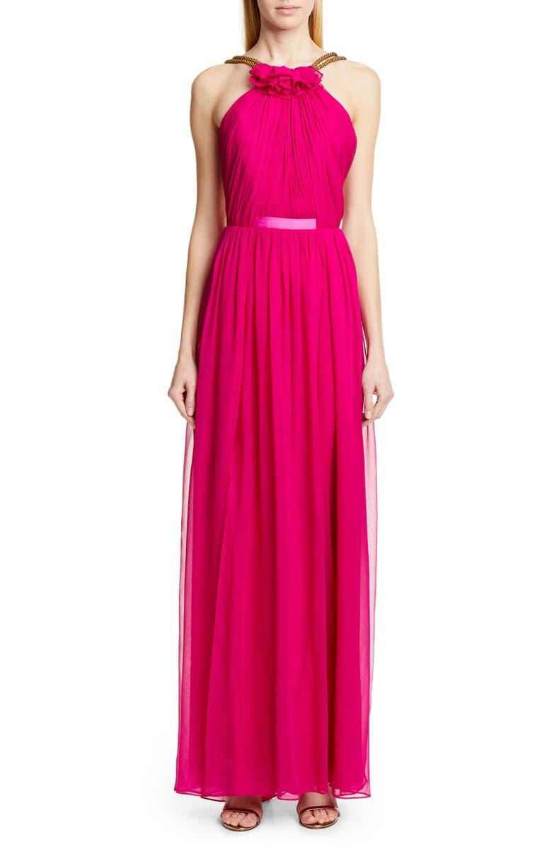 Haney Dresses EMELINE HALTER SILK CHIFFON EVENING DRESS