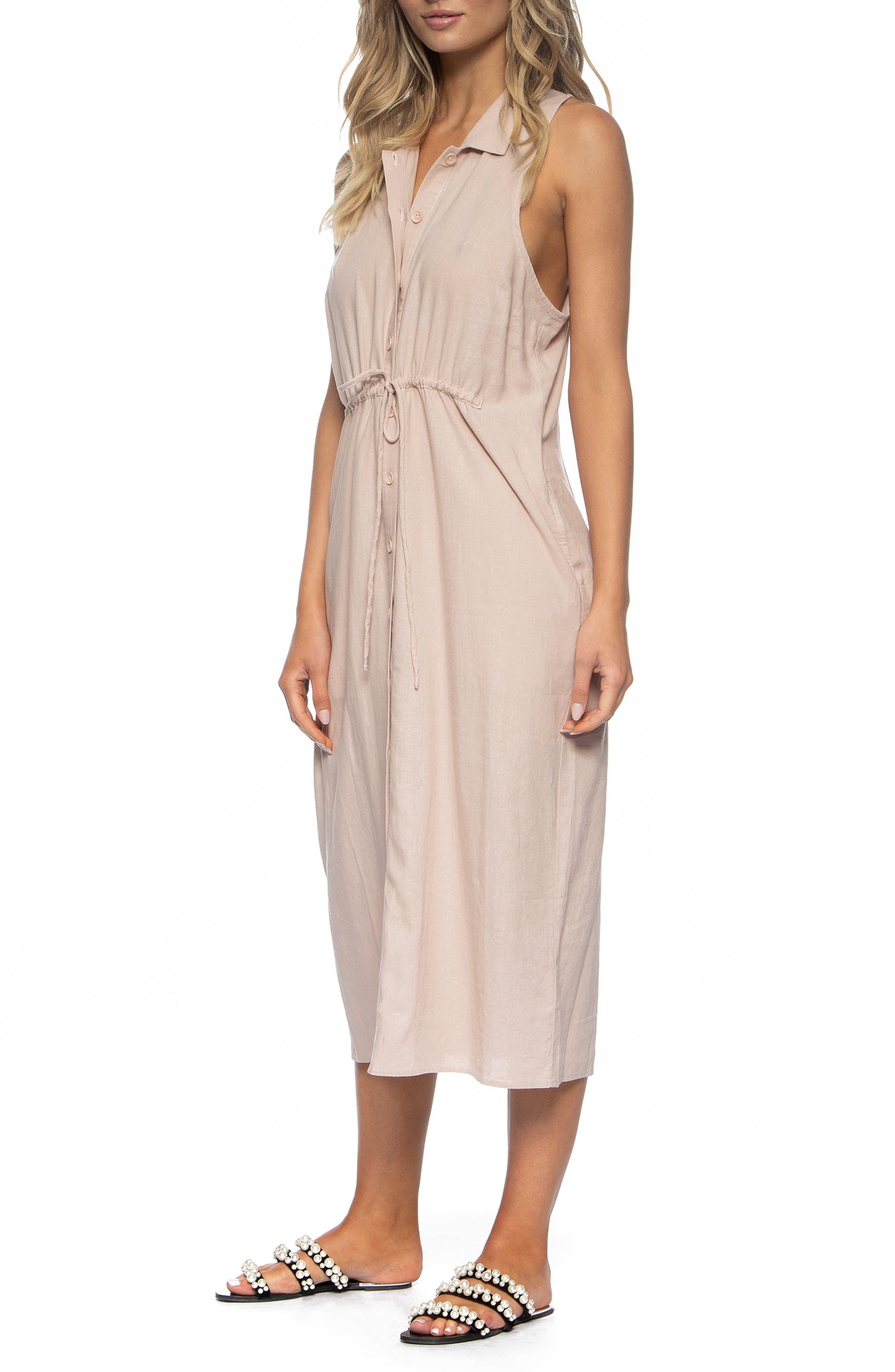 TAVIK, Maggie Cover-Up Midi Dress, Alternate thumbnail 3, color, SEASHELL