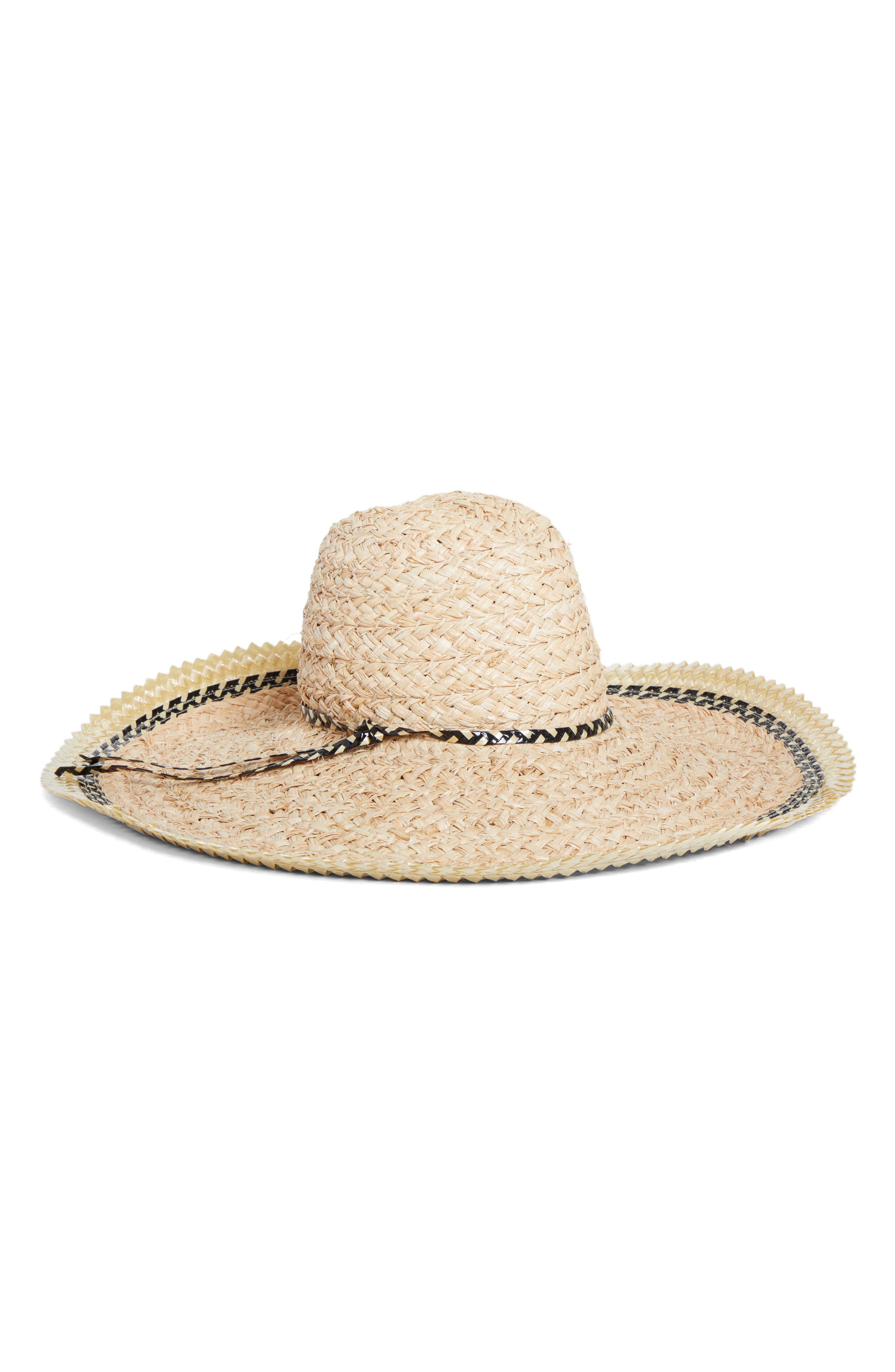 GIGI BURRIS MILLINERY, Pacific Straw Hat, Main thumbnail 1, color, NATURAL/ BLACK