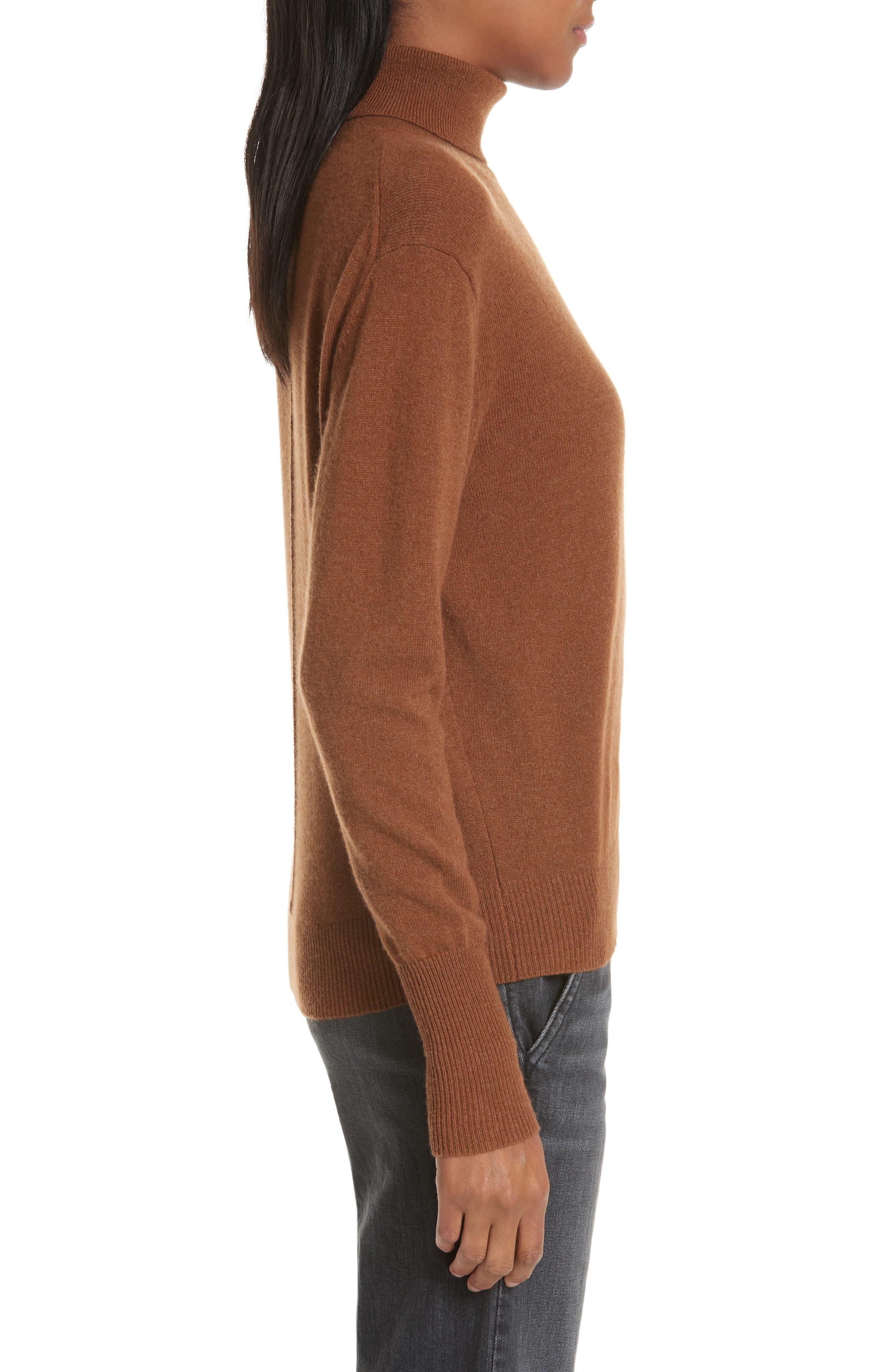 NILI LOTAN, Ralphie Cashmere Turtleneck Sweater, Alternate thumbnail 3, color, COGNAC