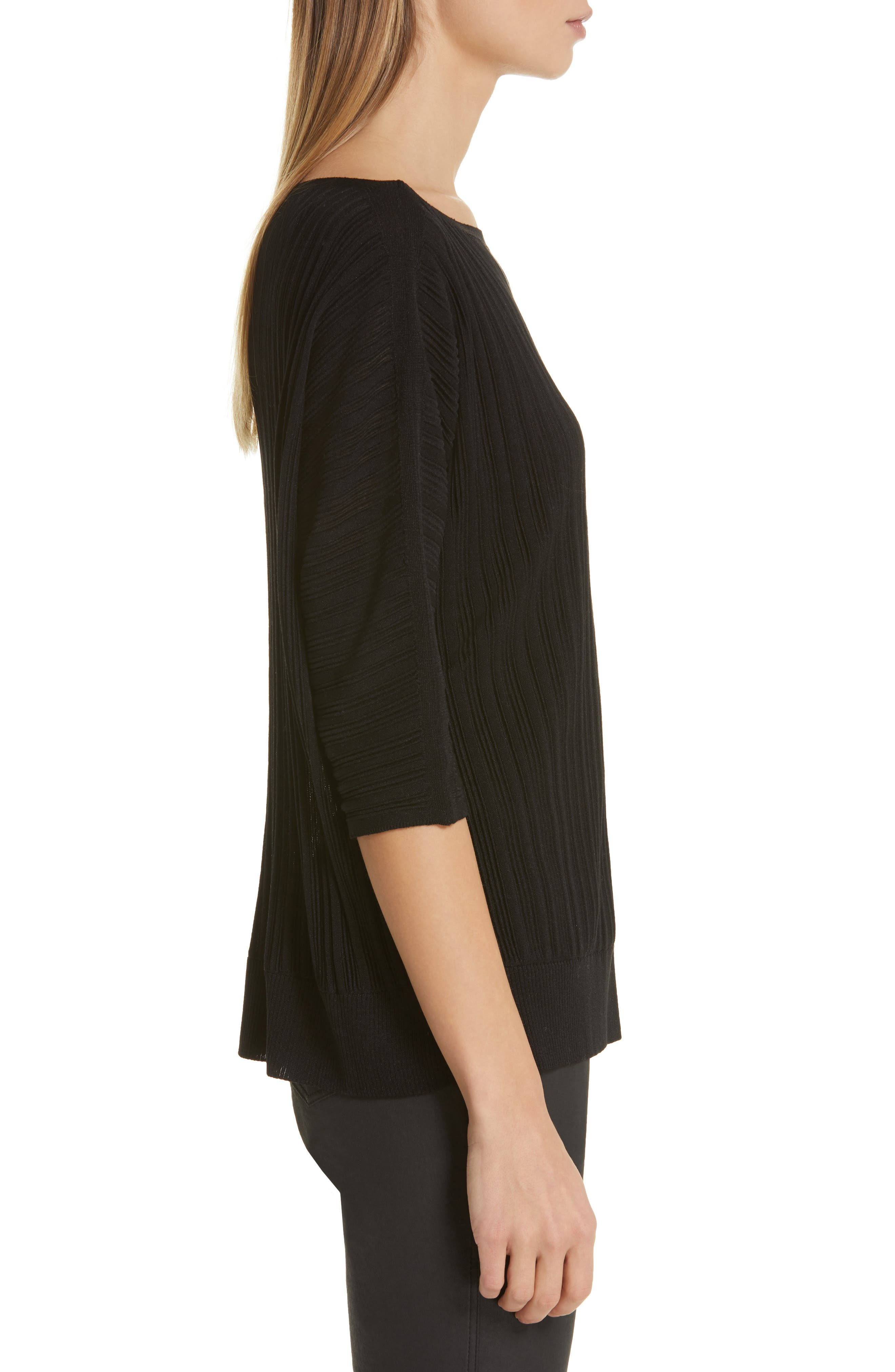 LAFAYETTE 148 NEW YORK, Plissé Ribbed Dolman Sweater, Alternate thumbnail 3, color, BLACK