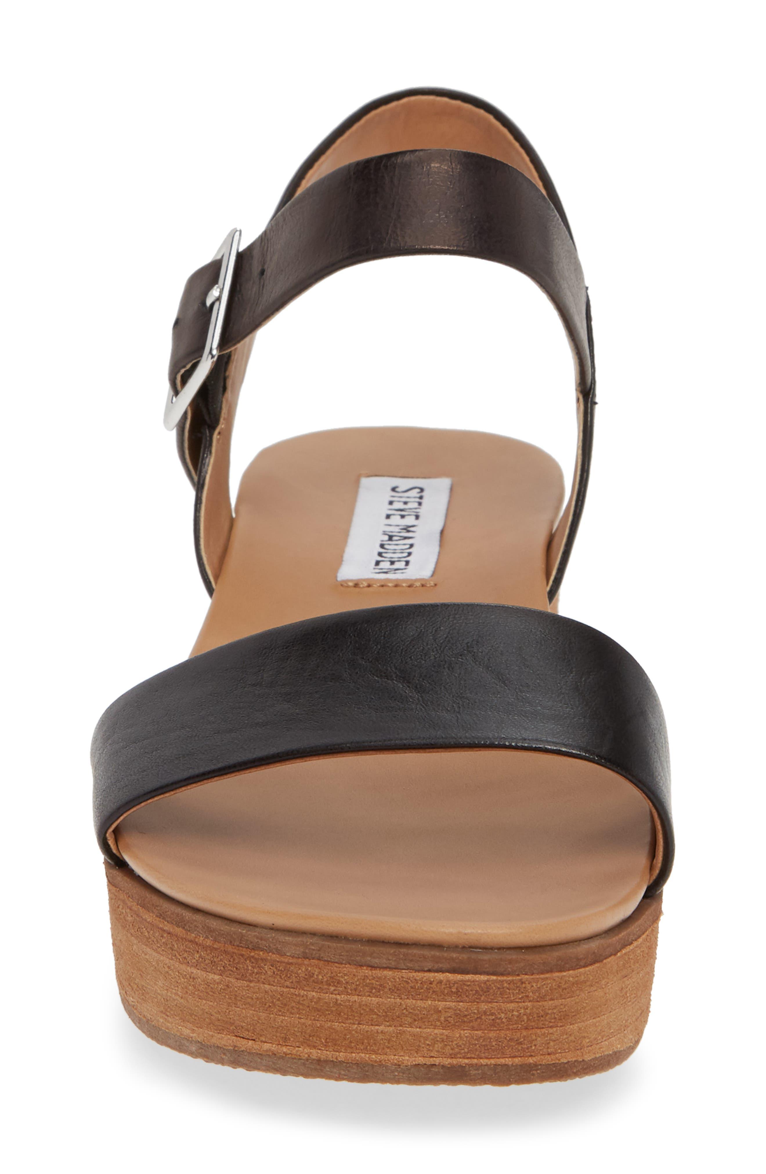 STEVE MADDEN, Aida Platform Sandal, Alternate thumbnail 4, color, BLACK LEATHER