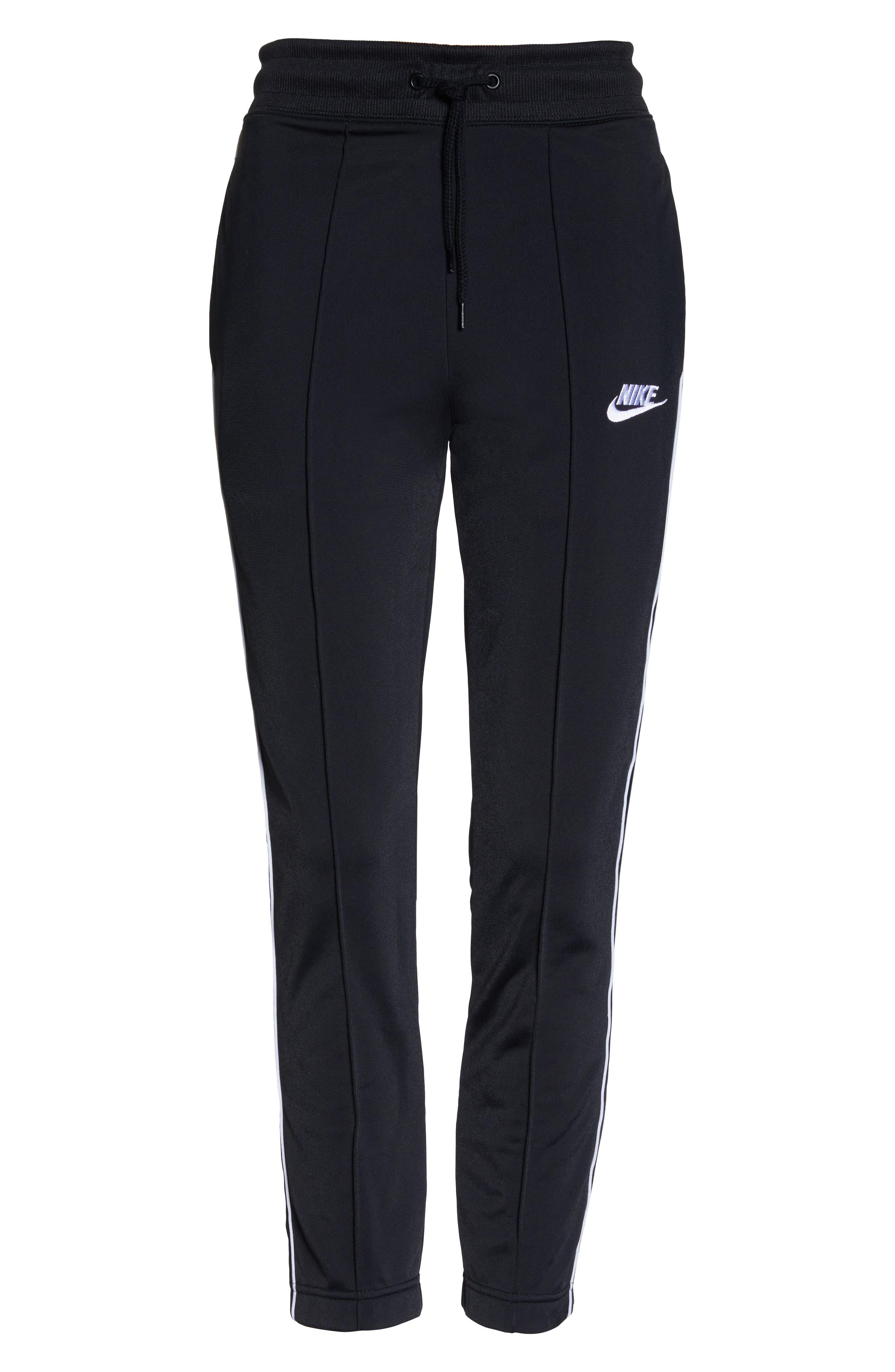 NIKE, NSW Slim Crop Pants, Alternate thumbnail 7, color, BLACK/ WHITE/ WHITE