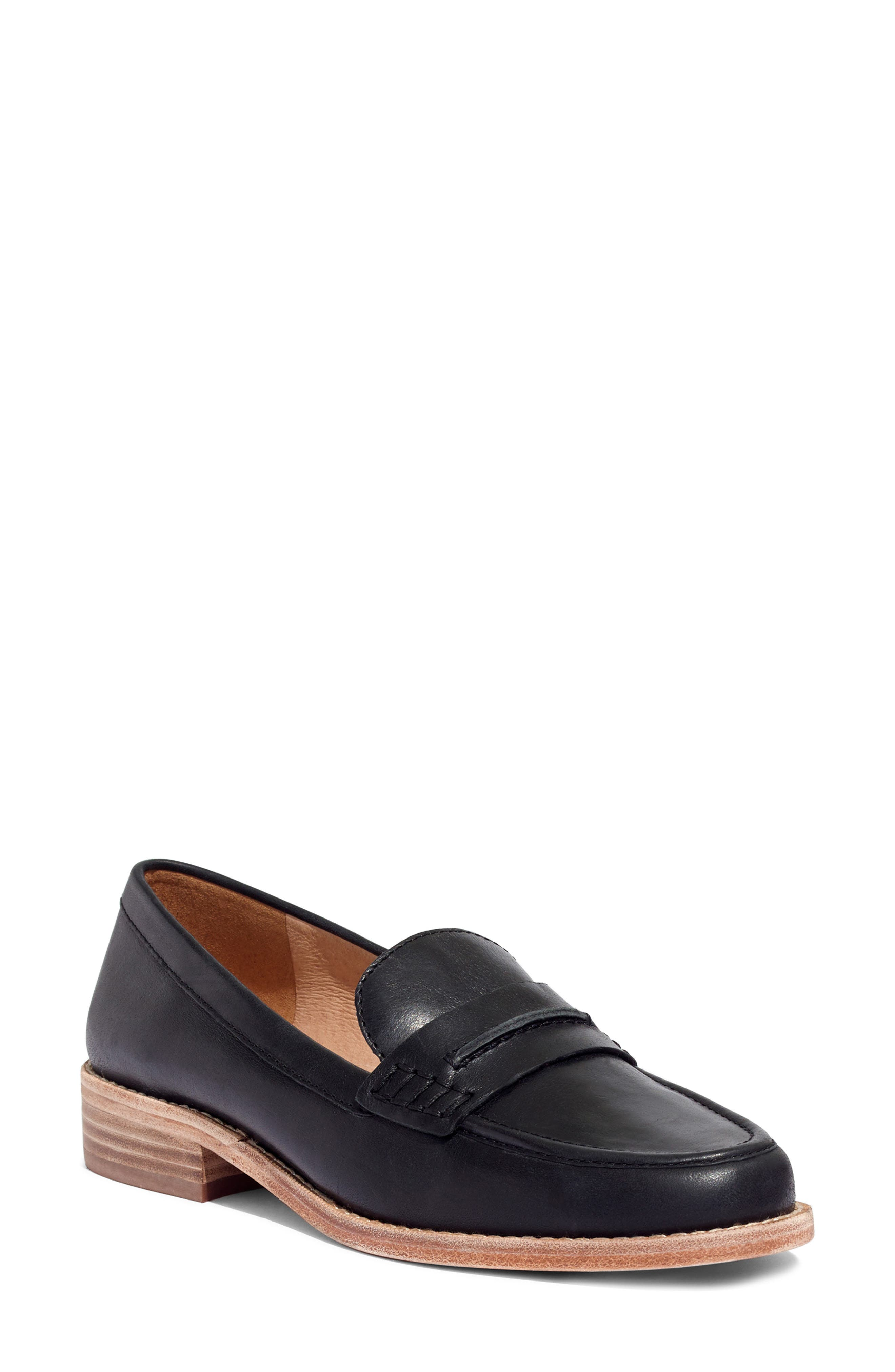 MADEWELL, The Elinor Loafer, Main thumbnail 1, color, BLACK LEATHER