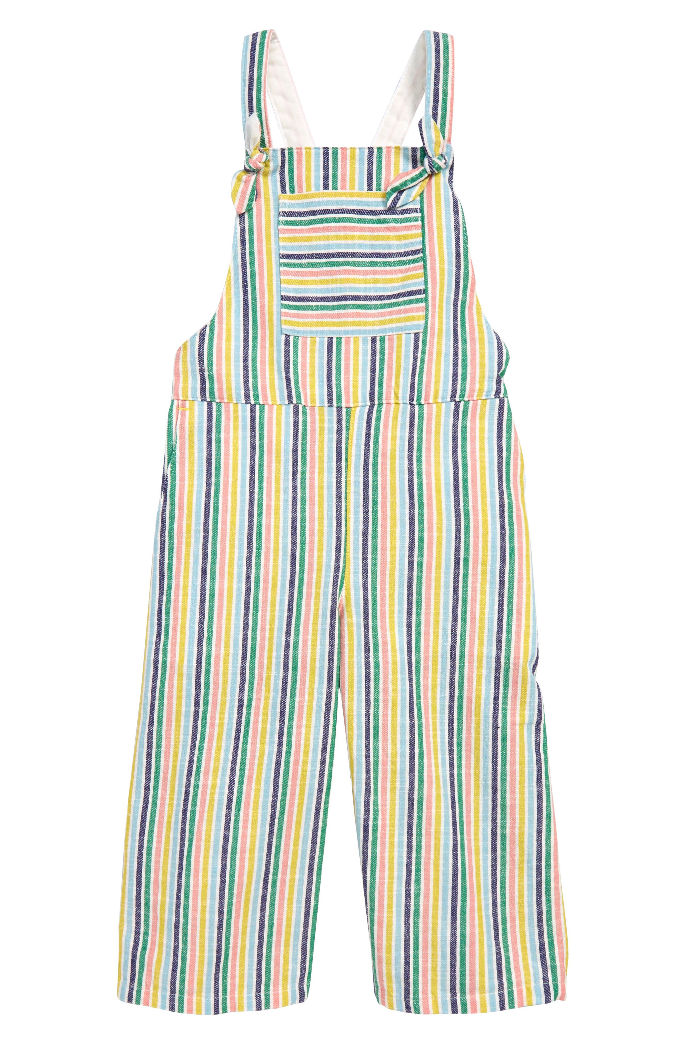 Toddler Girls Mini Boden Stripe Overalls Size 23Y  White