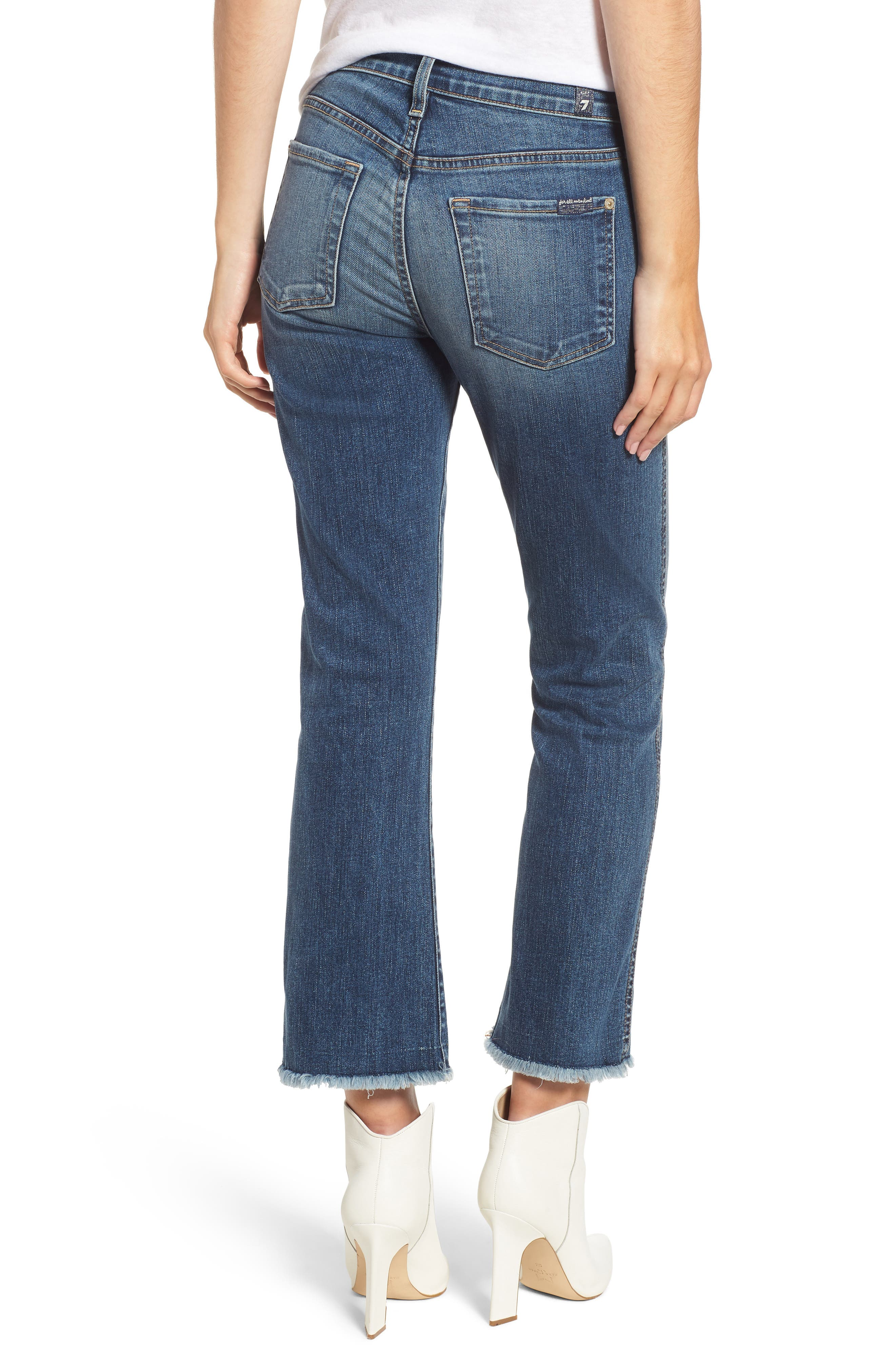 7 FOR ALL MANKIND<SUP>®</SUP>, High Waist Fray Crop Bootcut Jeans, Alternate thumbnail 2, color, 400