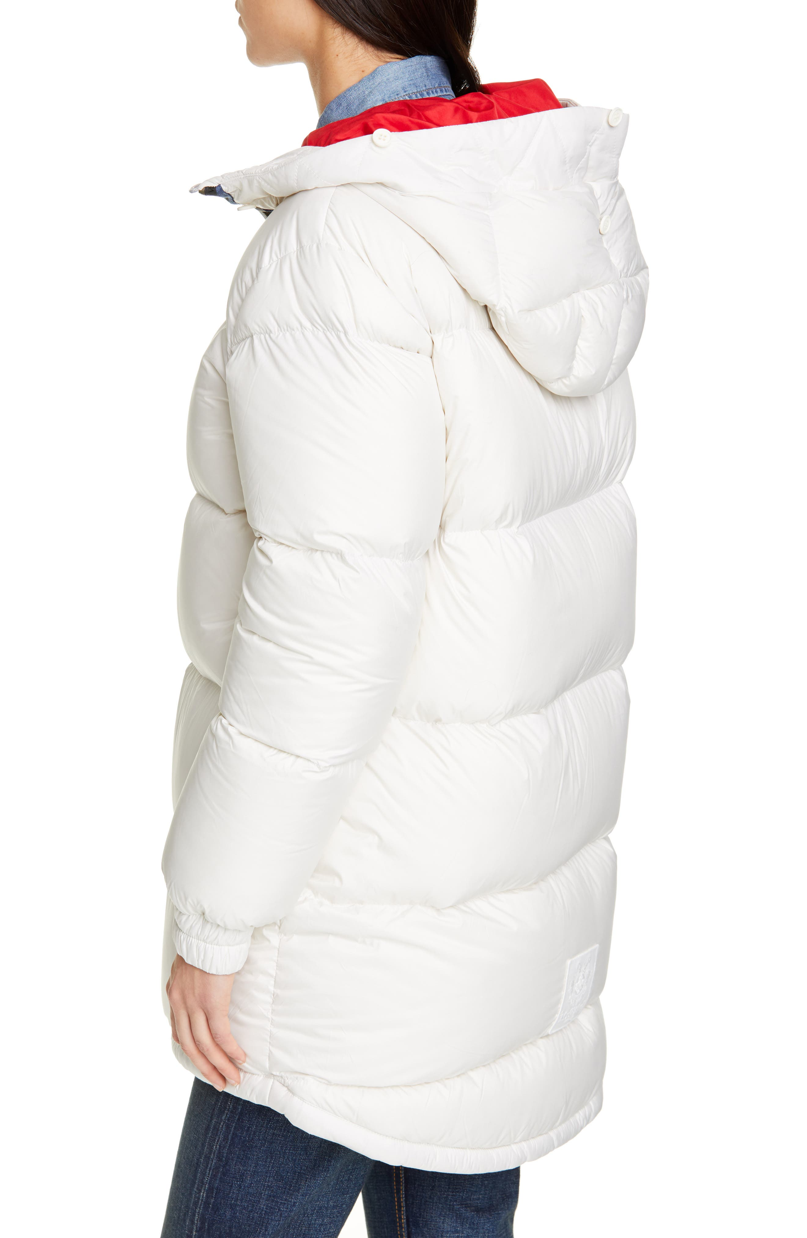 MR & MRS ITALY, Reversible Waterproof Down Parka with Removable Genuine Fox Fur Trim, Alternate thumbnail 2, color, WHITE / RED