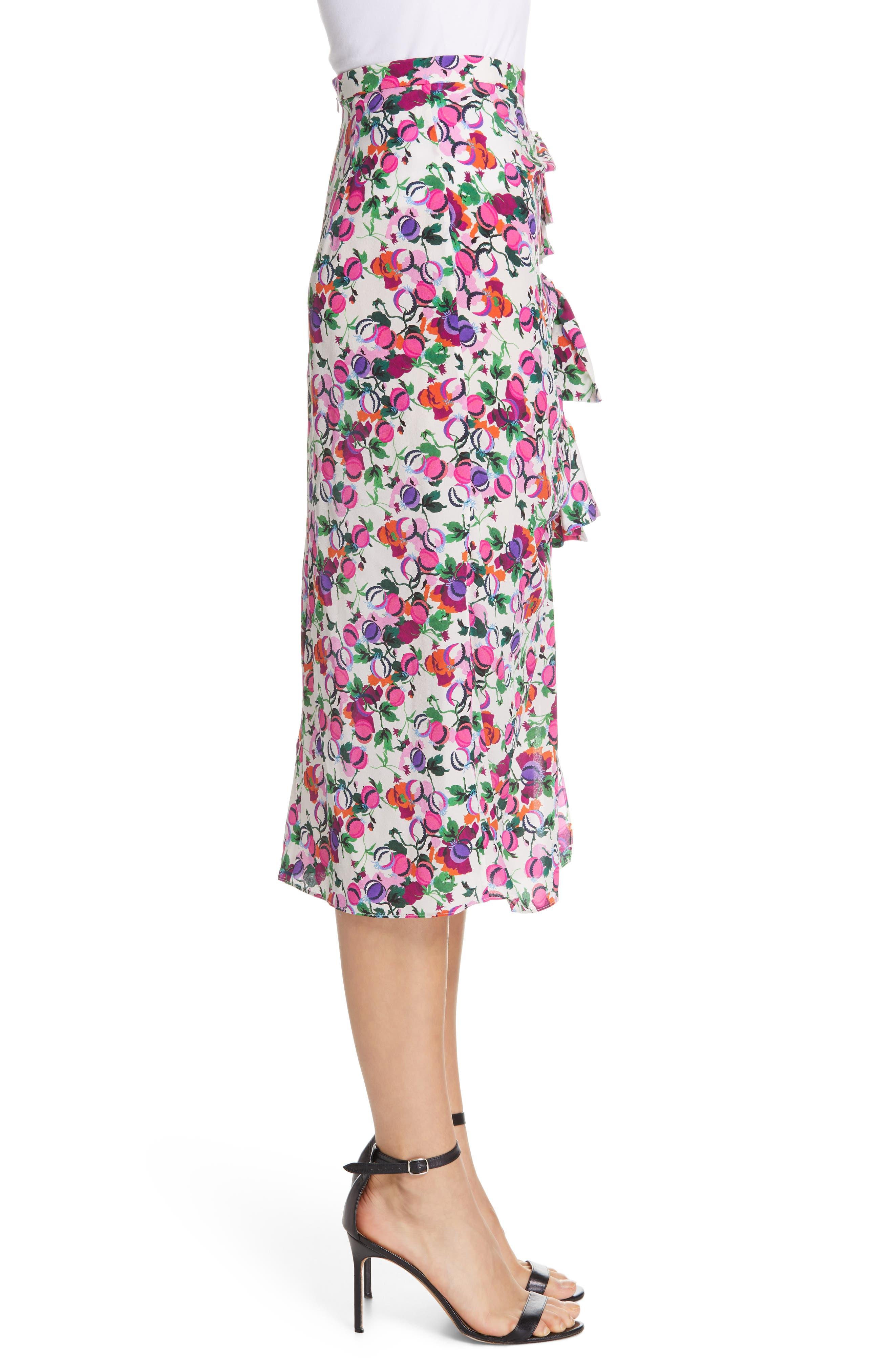 SALONI, Kelly Floral Print Silk Skirt, Alternate thumbnail 3, color, ROSE BOUNTY