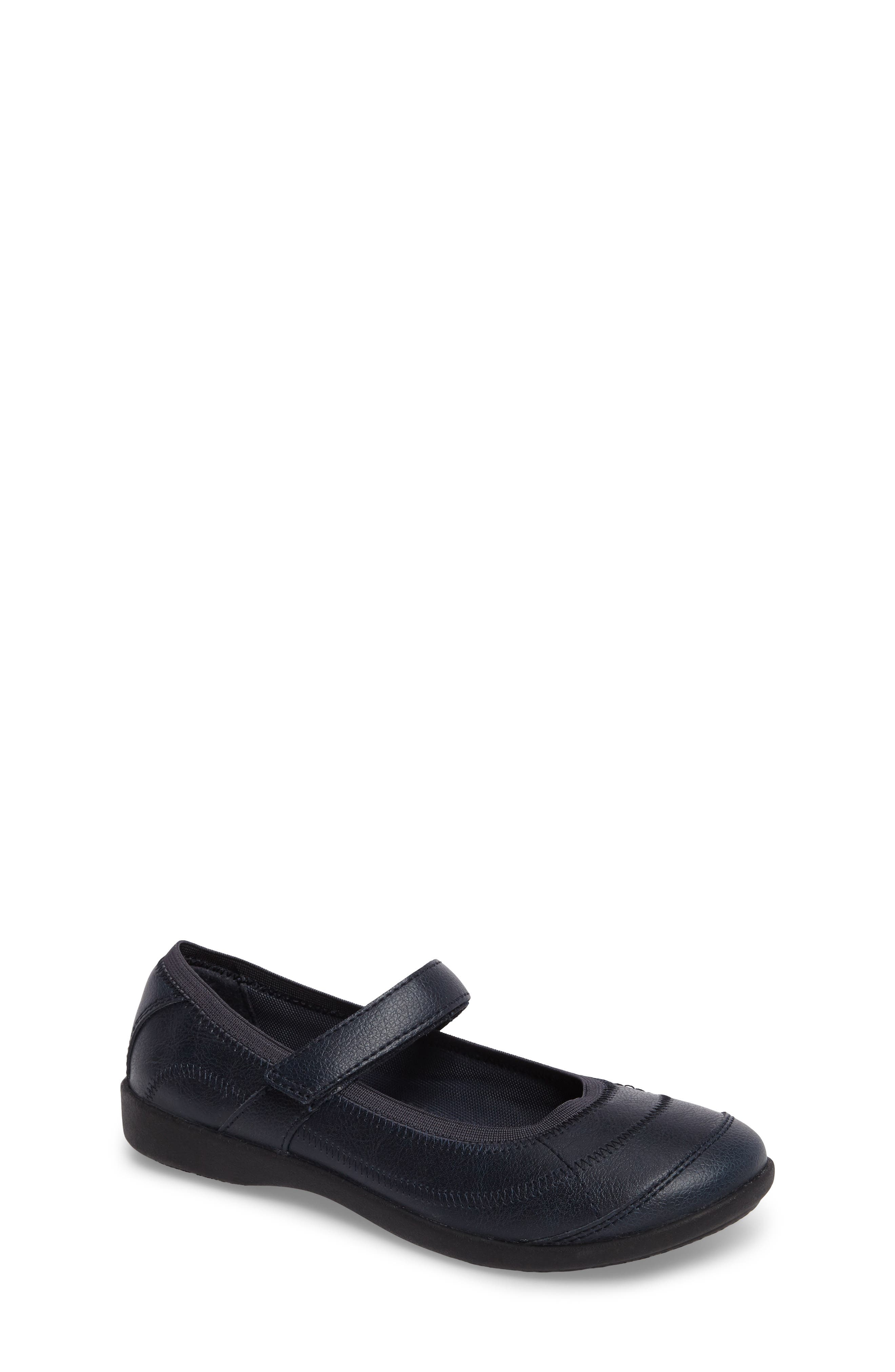 HUSH PUPPIES<SUP>®</SUP>, Reese Mary Jane Flat, Main thumbnail 1, color, NAVY LEATHER