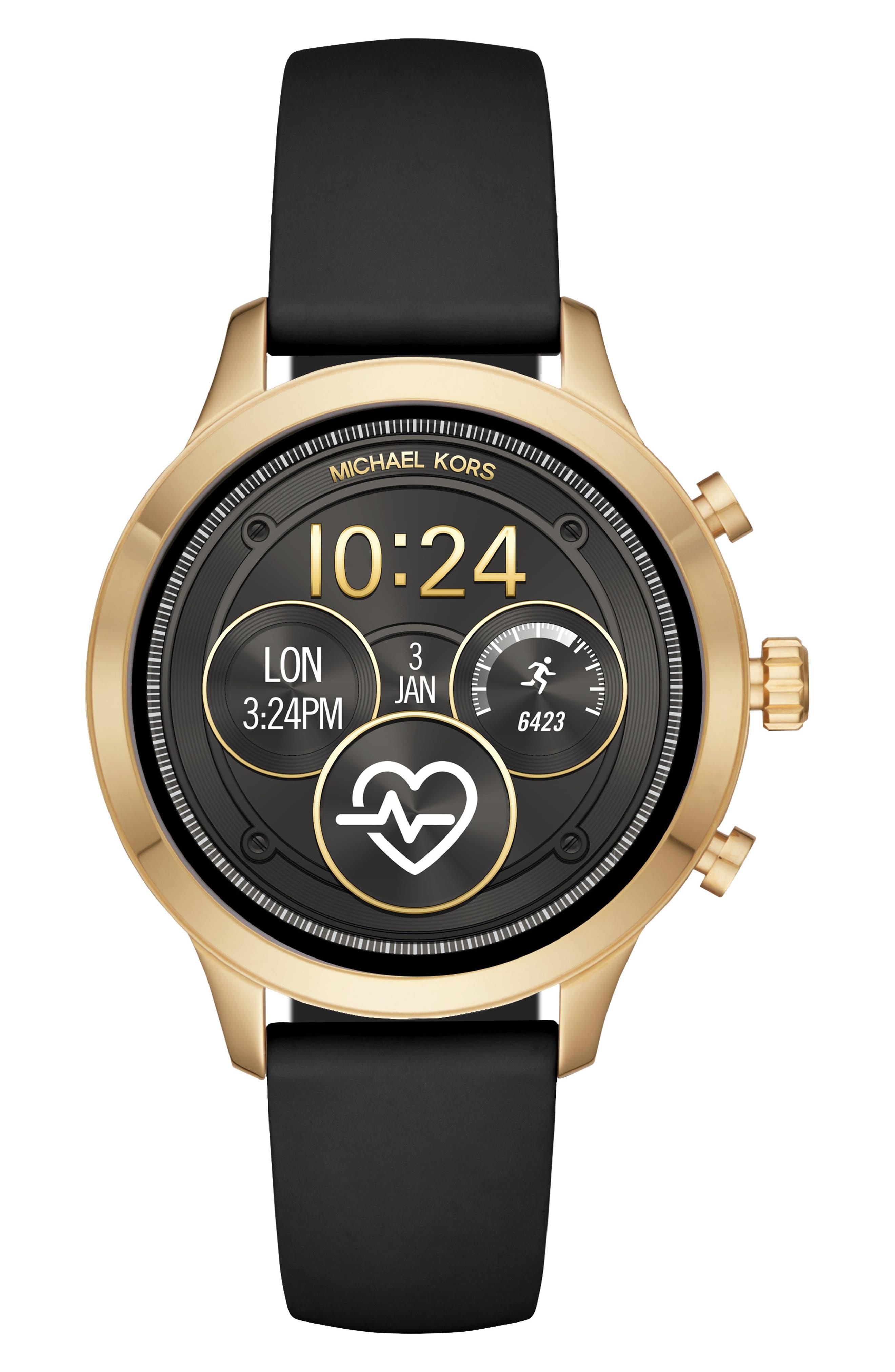 MICHAEL KORS, MICHAEL Michael Kors Access Runway Smart Watch, 41mm, Main thumbnail 1, color, BLACK/ GOLD