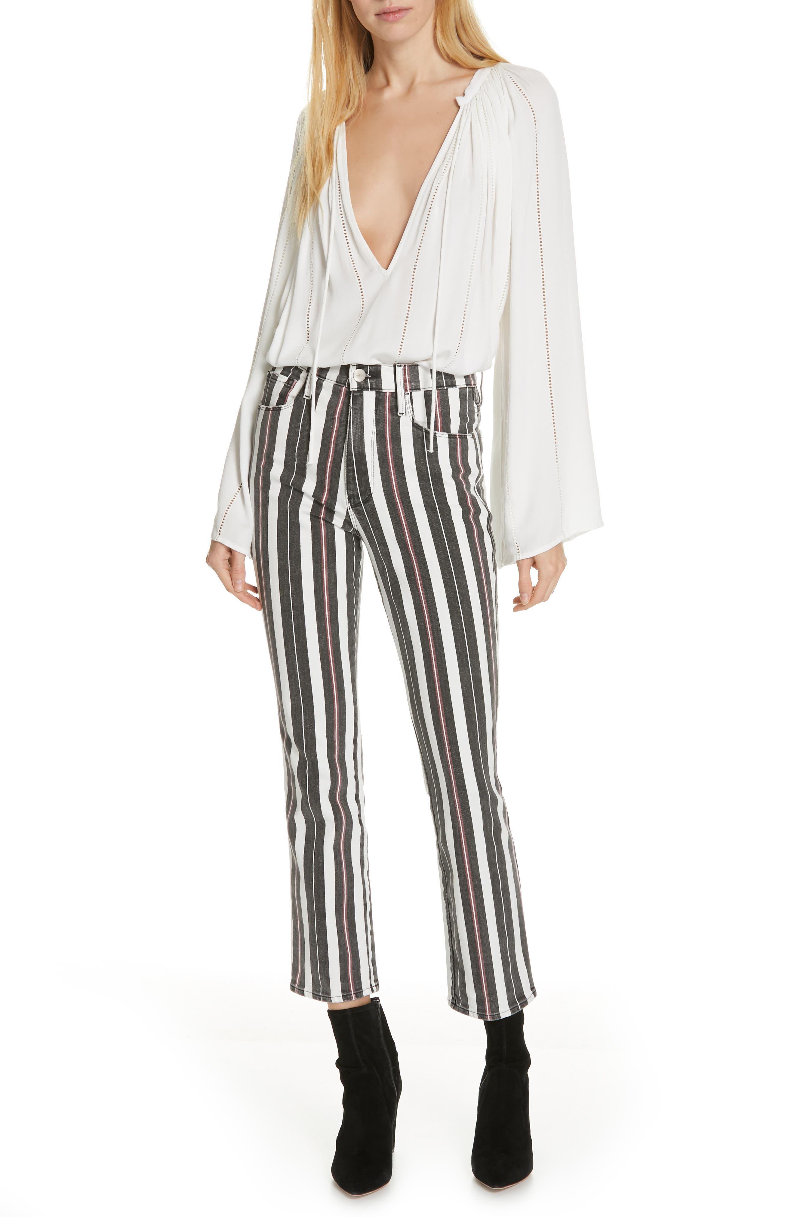 FRAME, Le Sylvie Band Stripe Straight Leg Jeans, Alternate thumbnail 7, color, BAND STRIPE