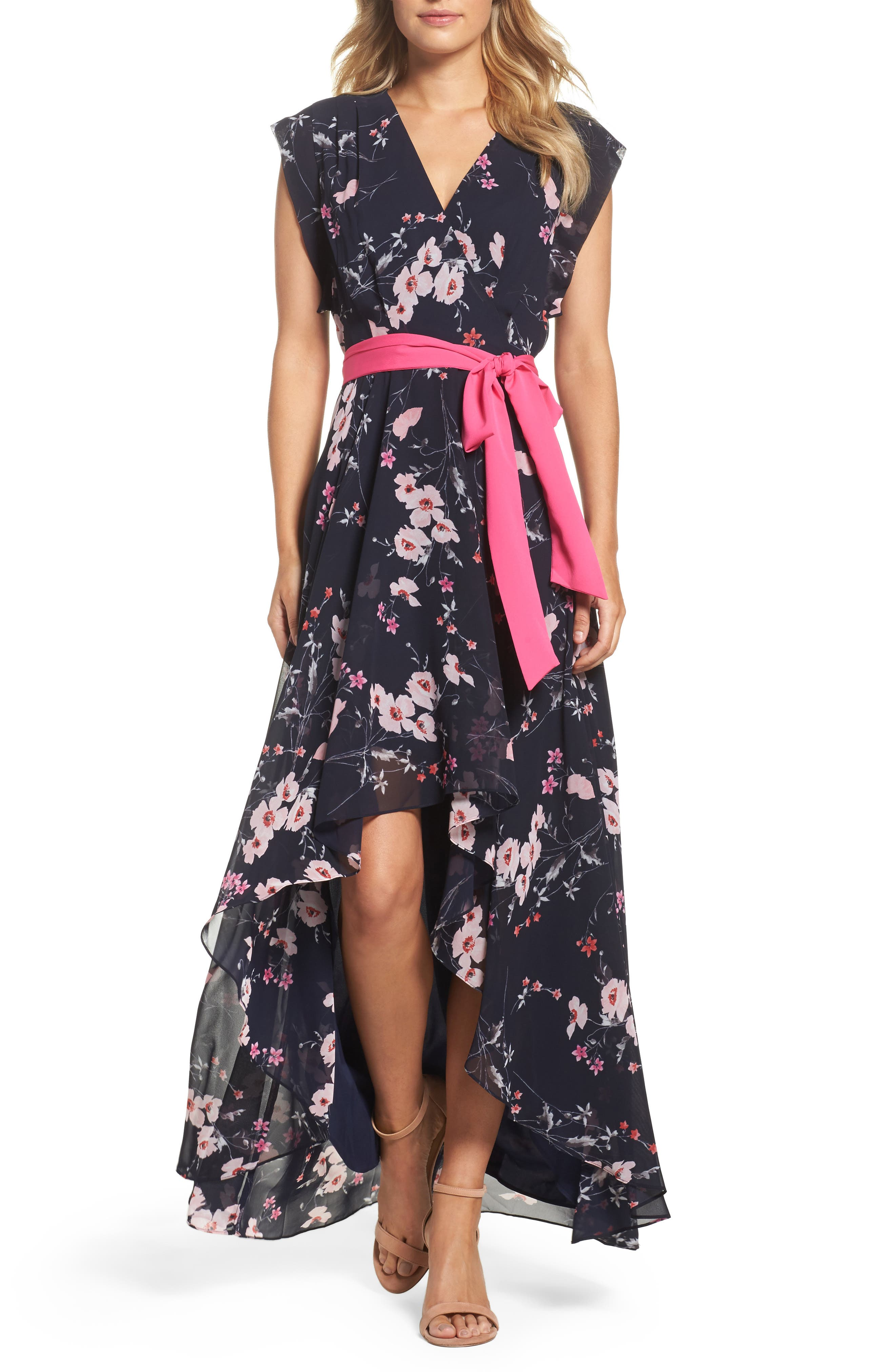 ELIZA J, High/Low Floral Faux Wrap Dress, Main thumbnail 1, color, NAVY/ PINK