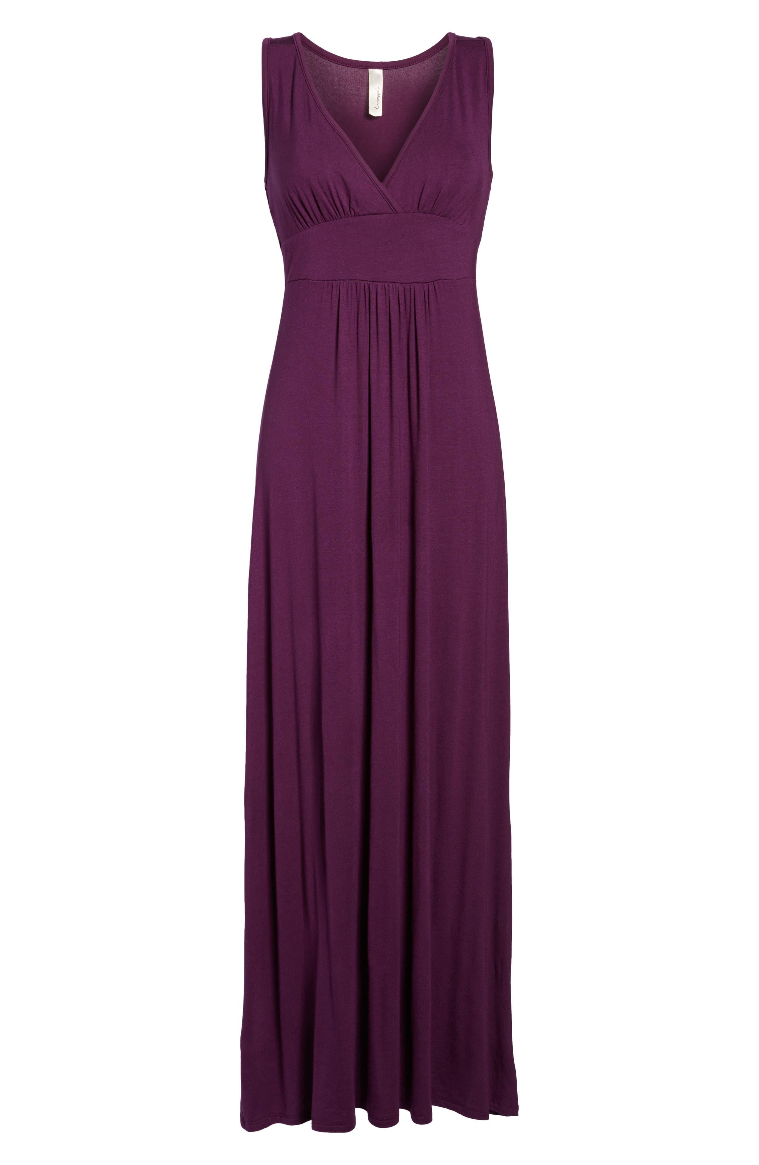 LOVEAPPELLA, V-Neck Jersey Maxi Dress, Alternate thumbnail 7, color, PURPLE DARK